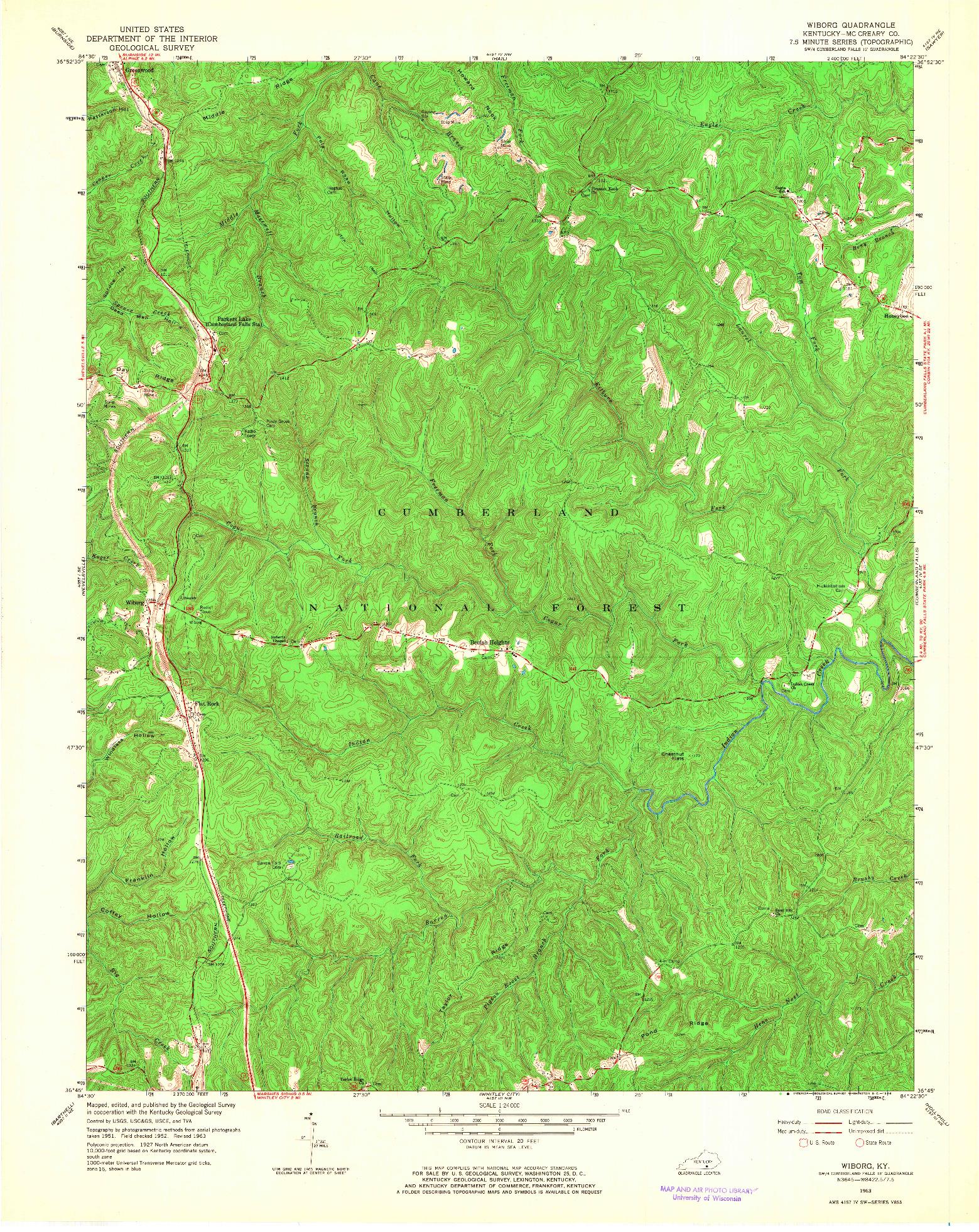 USGS 1:24000-SCALE QUADRANGLE FOR WIBORG, KY 1963