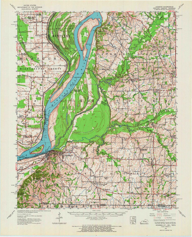 USGS 1:62500-SCALE QUADRANGLE FOR HICKMAN, KY 1954