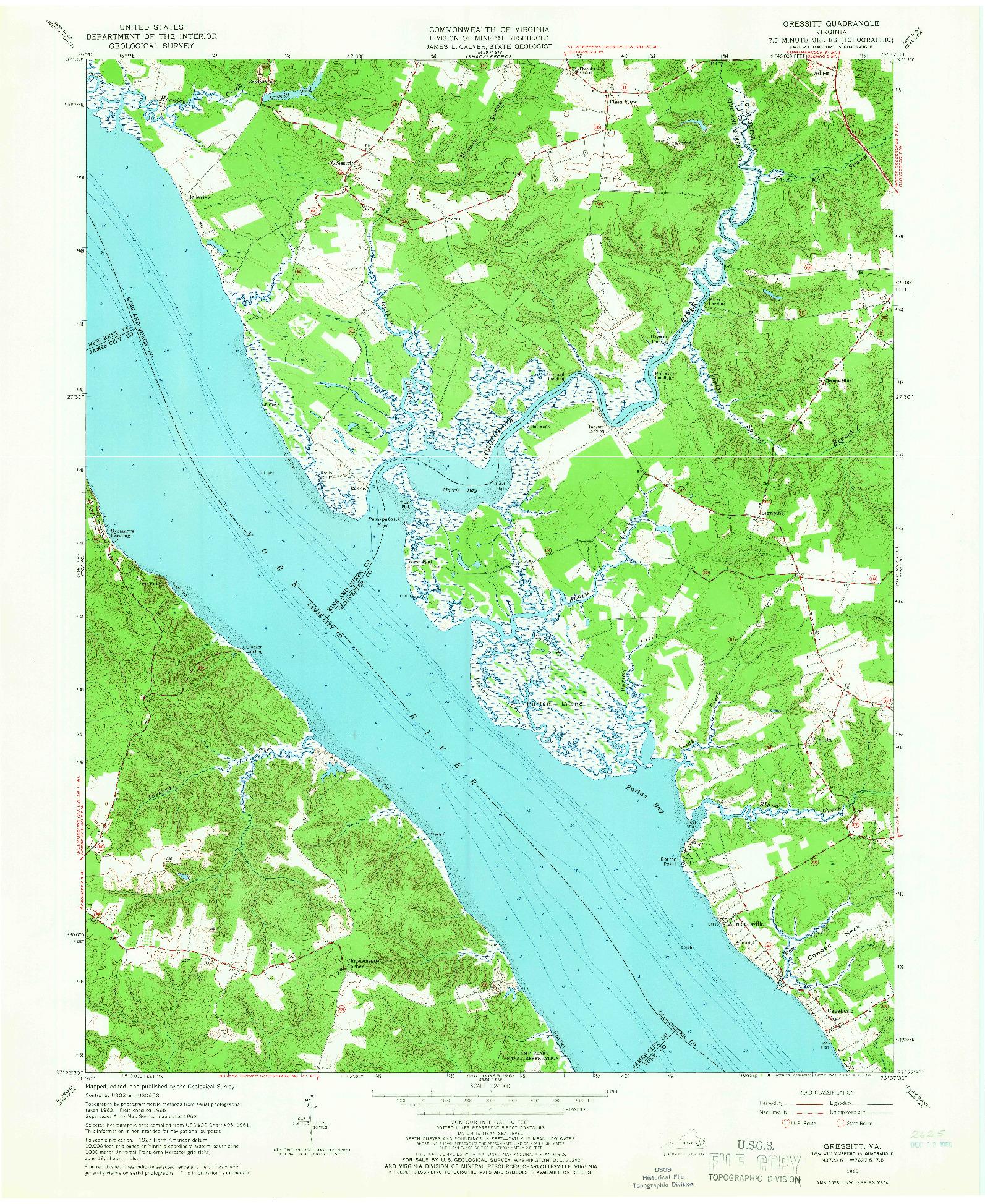 USGS 1:24000-SCALE QUADRANGLE FOR GRESSITT, VA 1965