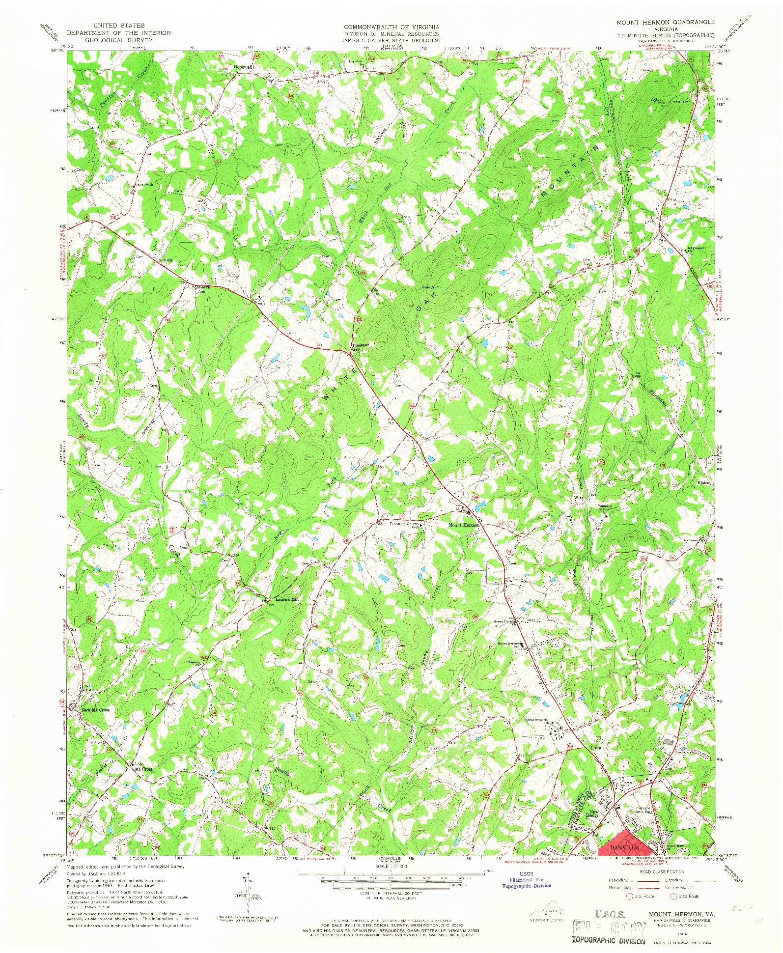 USGS 1:24000-SCALE QUADRANGLE FOR MOUNT HERMON, VA 1964
