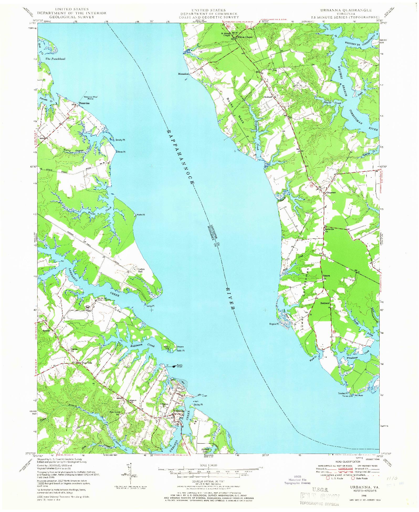 USGS 1:24000-SCALE QUADRANGLE FOR URBANNA, VA 1946