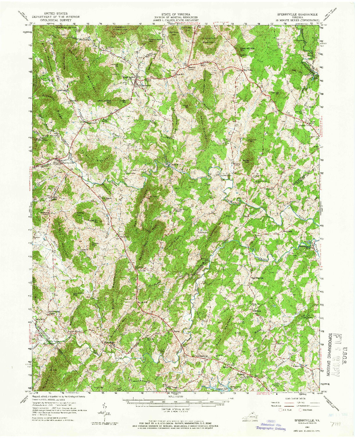 USGS 1:62500-SCALE QUADRANGLE FOR SPERRYVILLE, VA 1961