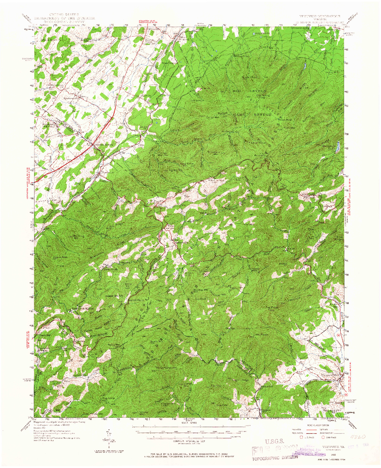 USGS 1:62500-SCALE QUADRANGLE FOR VESUVIUS, VA 1950
