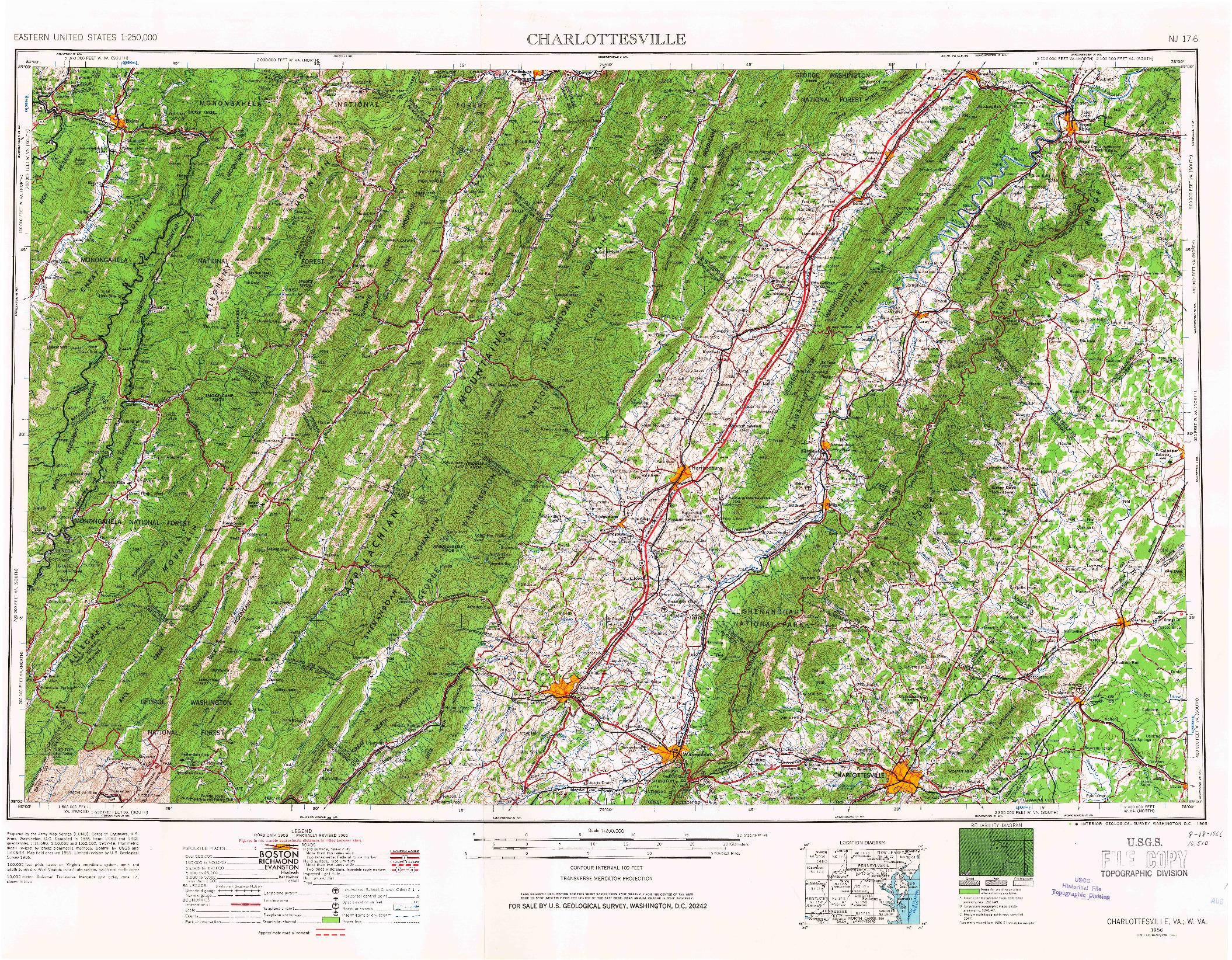 USGS 1:250000-SCALE QUADRANGLE FOR CHARLOTTESVILLE, VA 1956