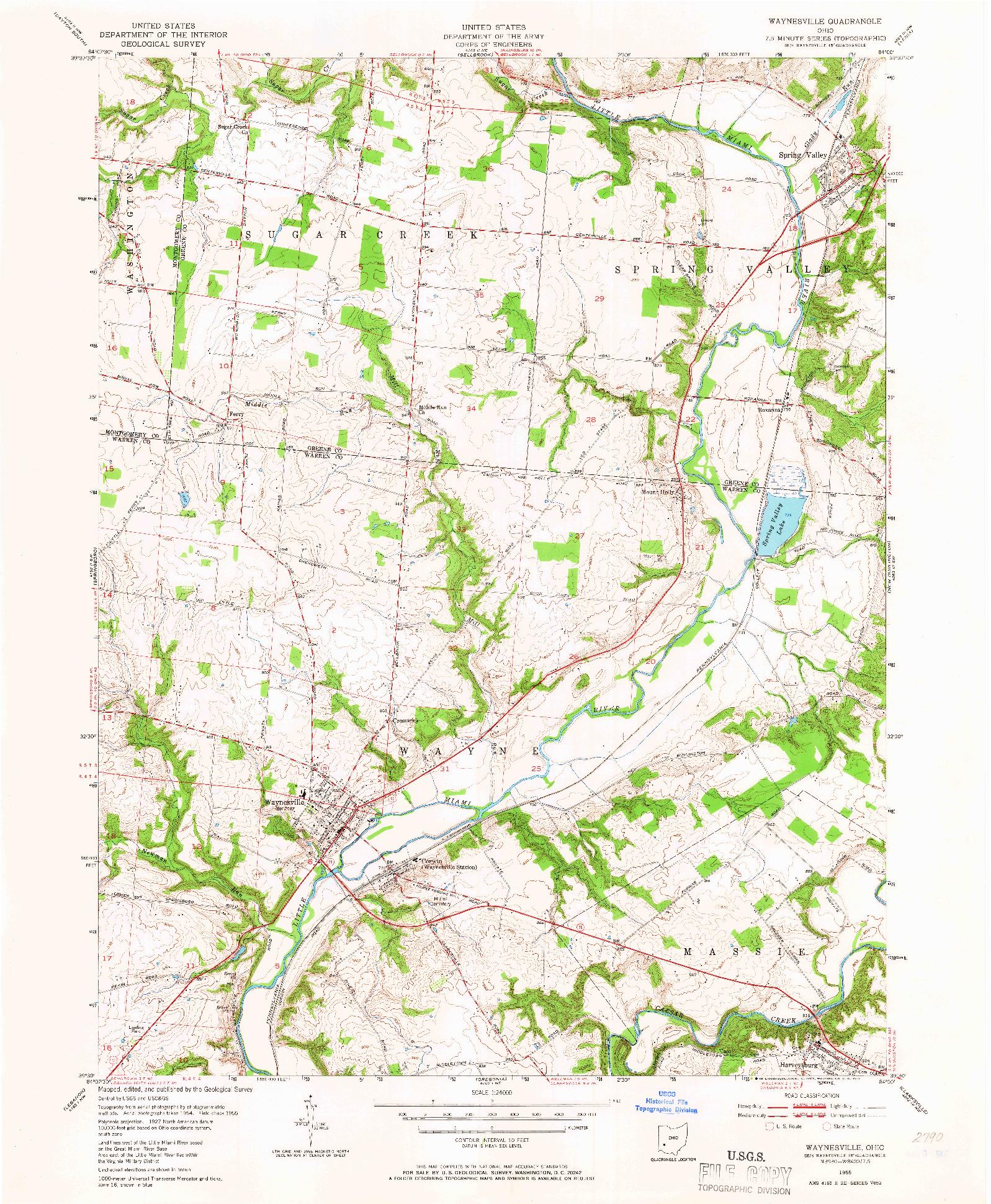USGS 1:24000-SCALE QUADRANGLE FOR WAYNESVILLE, OH 1955
