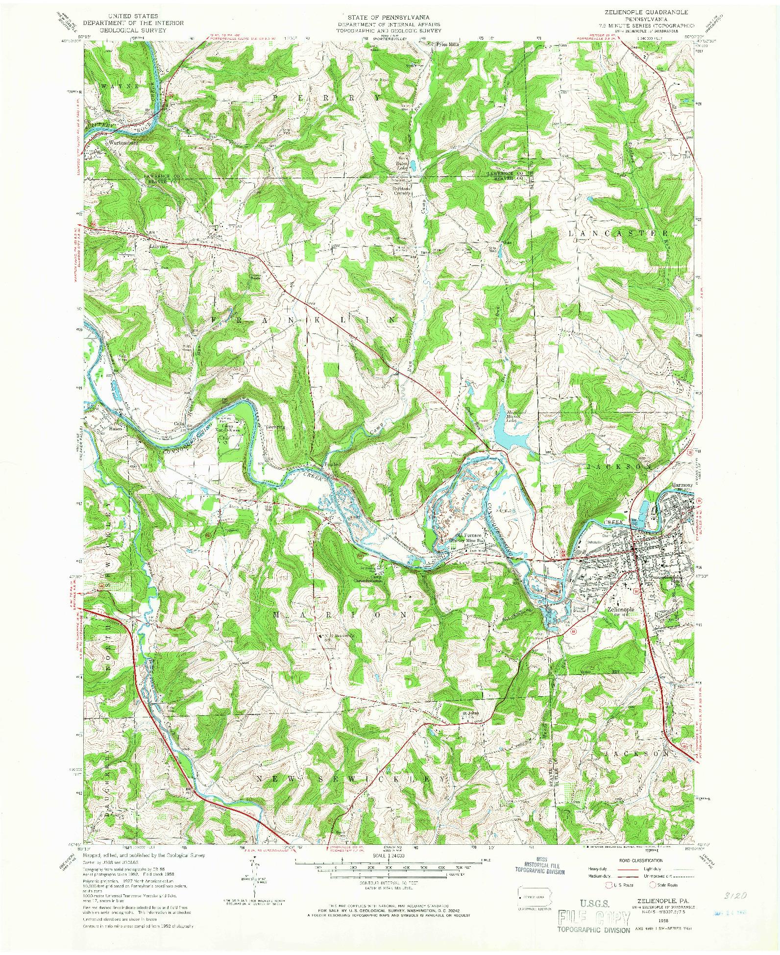 USGS 1:24000-SCALE QUADRANGLE FOR ZELIENOPLE, PA 1958 on