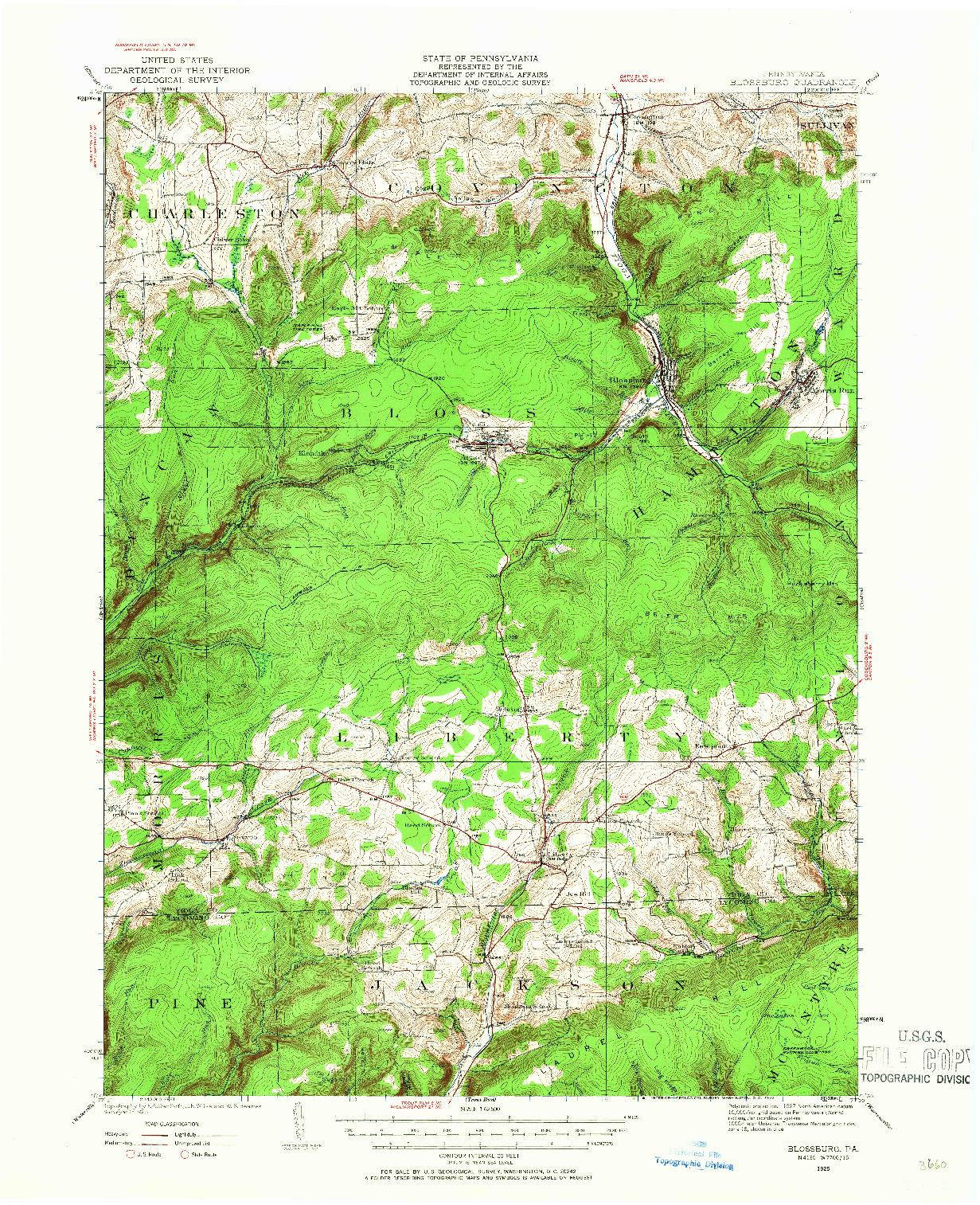 USGS 1:62500-SCALE QUADRANGLE FOR BLOSSBURG, PA 1925
