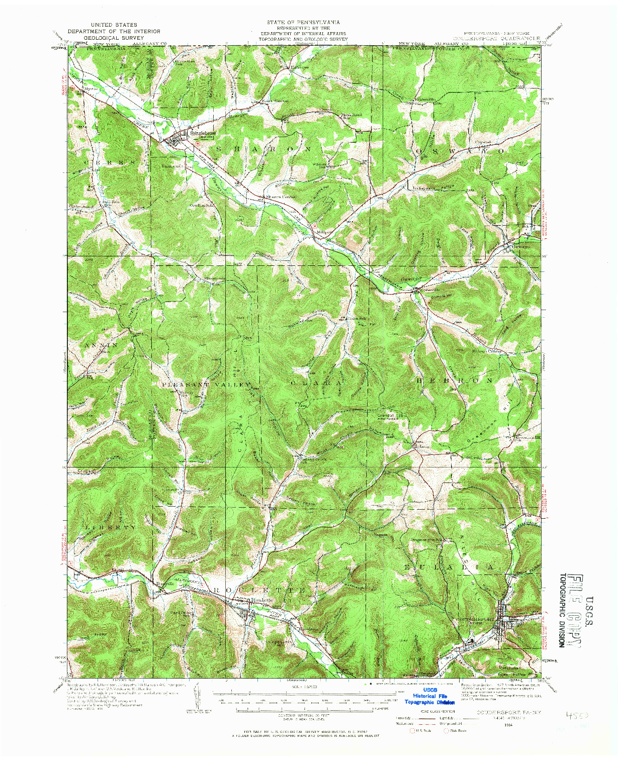 USGS 1:62500-SCALE QUADRANGLE FOR COUDERSPORT, PA 1934
