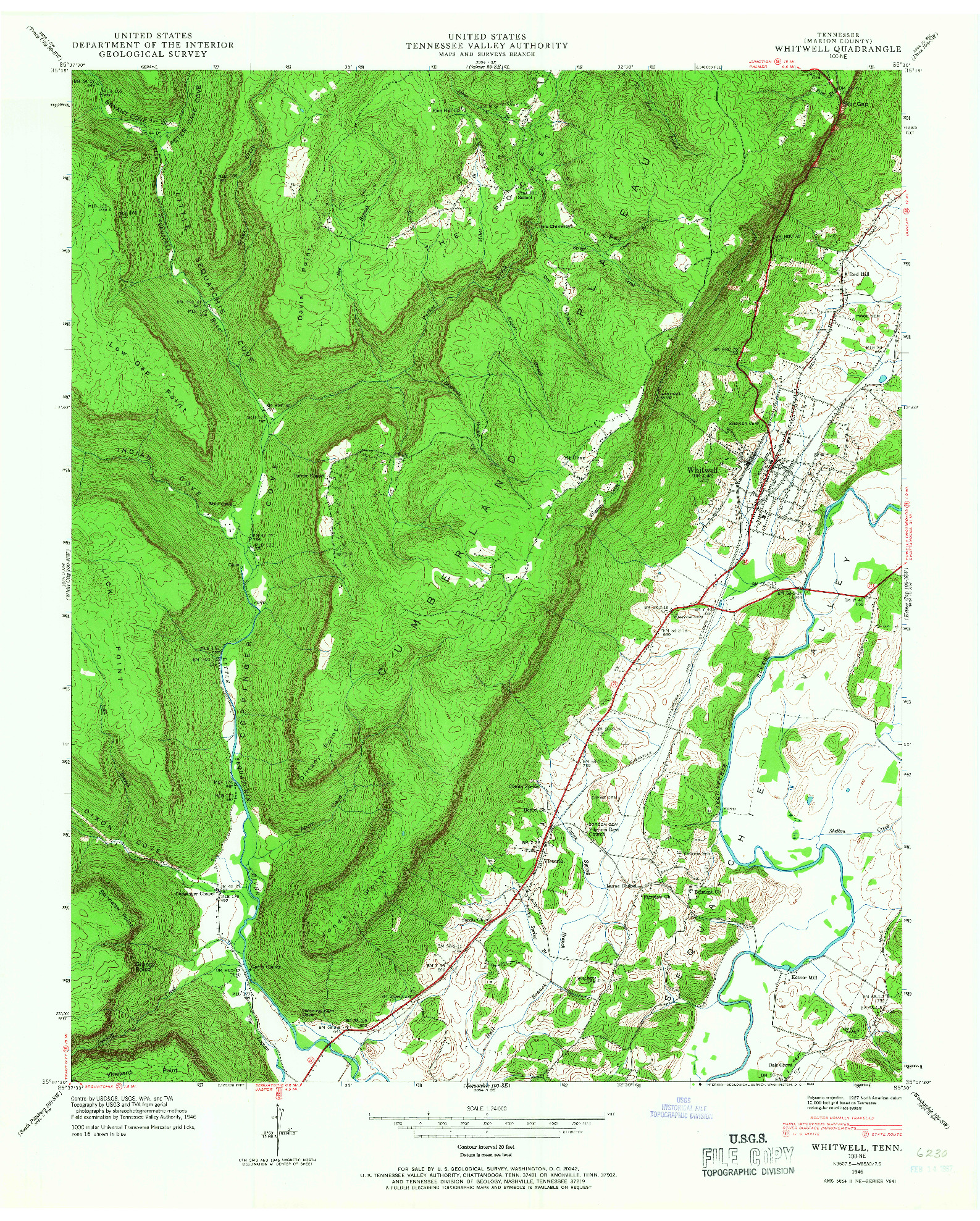 USGS 1:24000-SCALE QUADRANGLE FOR WHITWELL, TN 1946