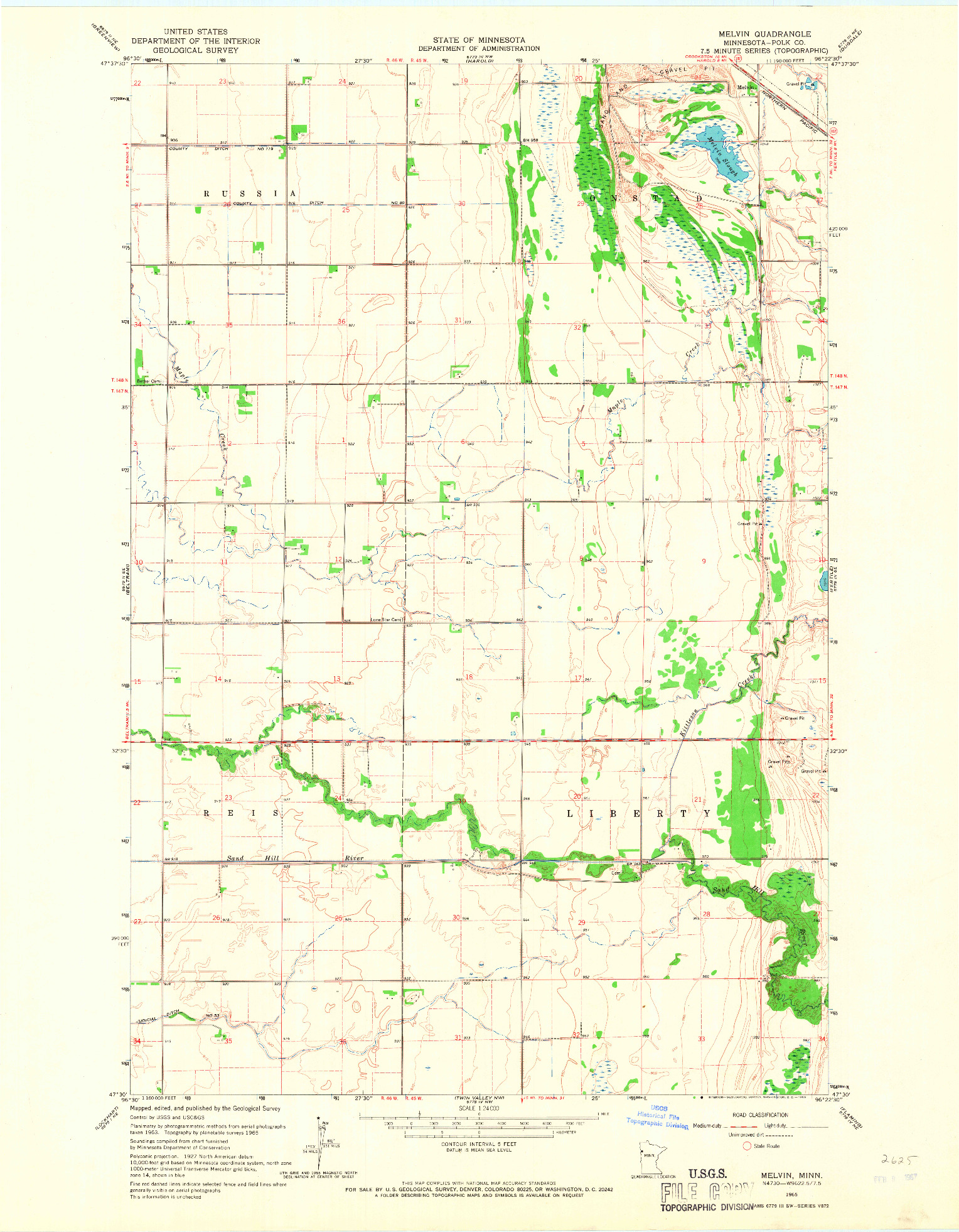 USGS 1:24000-SCALE QUADRANGLE FOR MELVIN, MN 1965