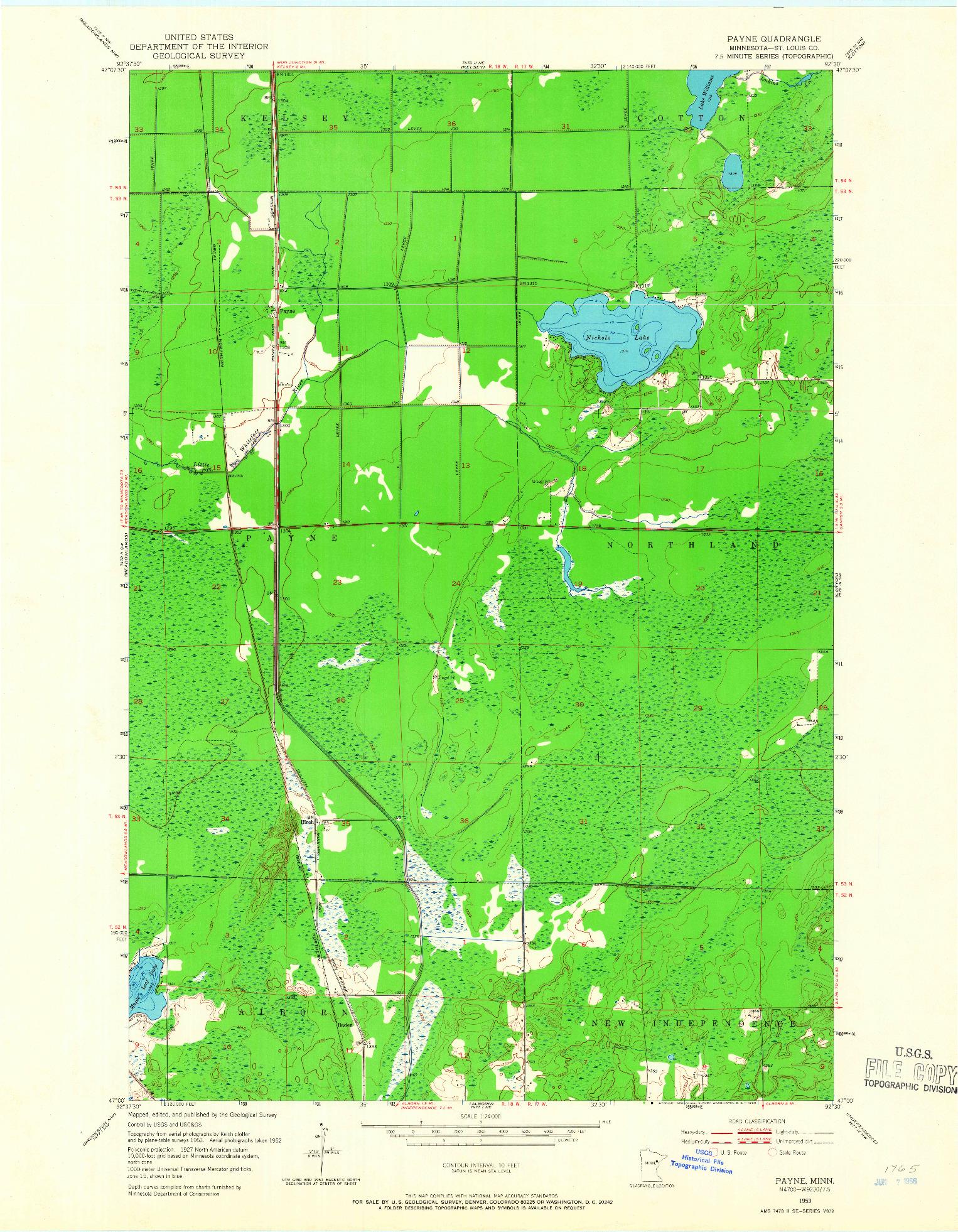 USGS 1:24000-SCALE QUADRANGLE FOR PAYNE, MN 1953