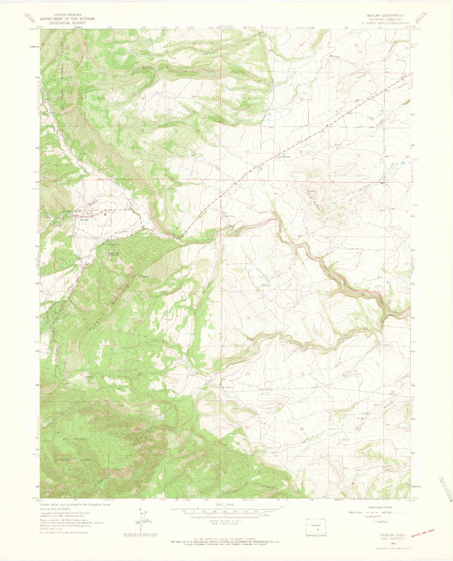 USGS 1:24000-SCALE QUADRANGLE FOR BEULAH, CO 1963