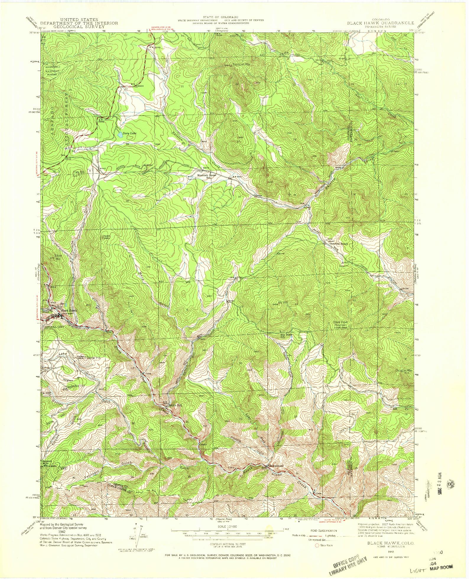 USGS 1:24000-SCALE QUADRANGLE FOR BLACK HAWK, CO 1942