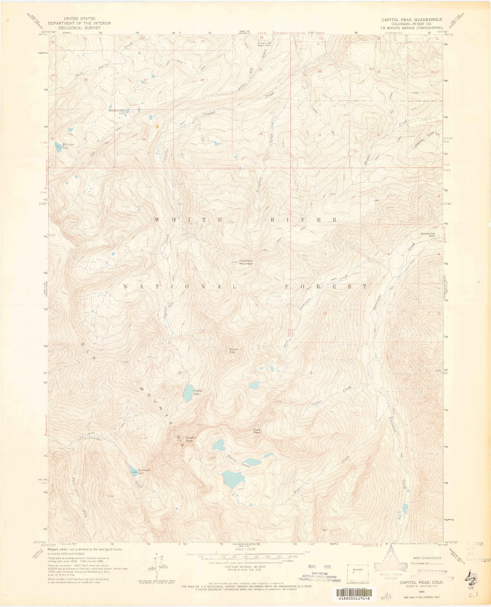 USGS 1:24000-SCALE QUADRANGLE FOR CAPITOL PEAK, CO 1960