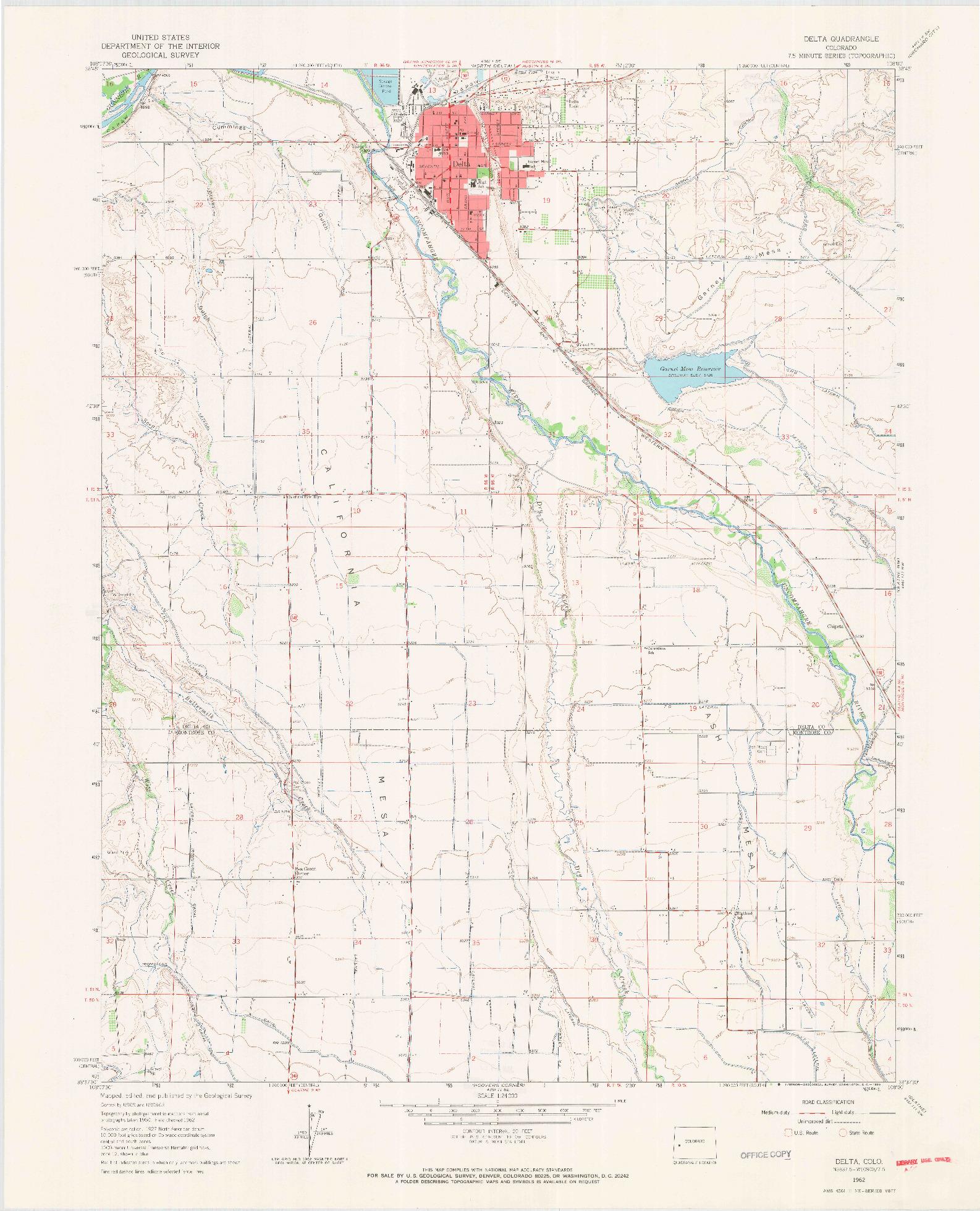 USGS 1:24000-SCALE QUADRANGLE FOR DELTA, CO 1962