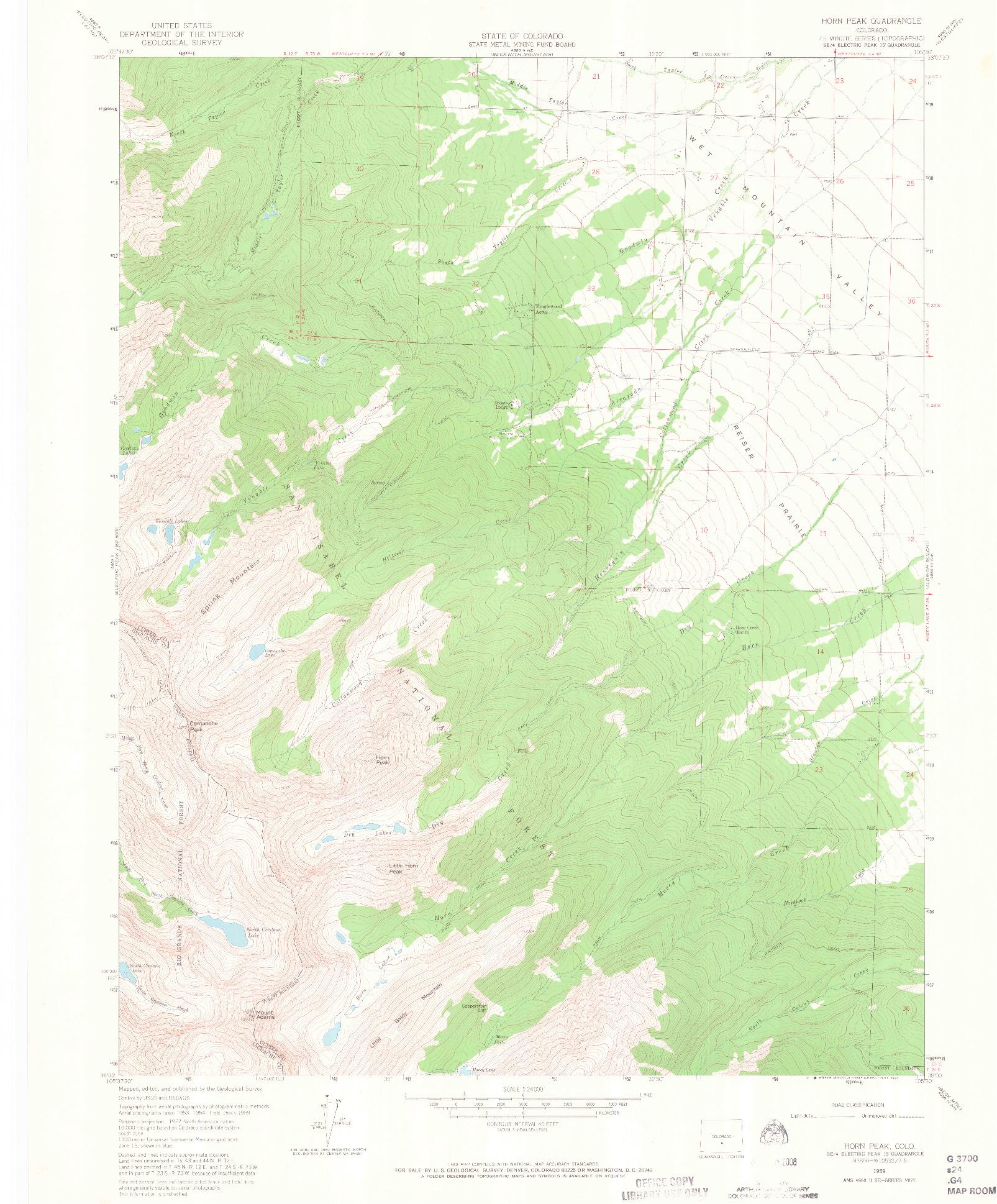 USGS 1:24000-SCALE QUADRANGLE FOR HORN PEAK, CO 1959