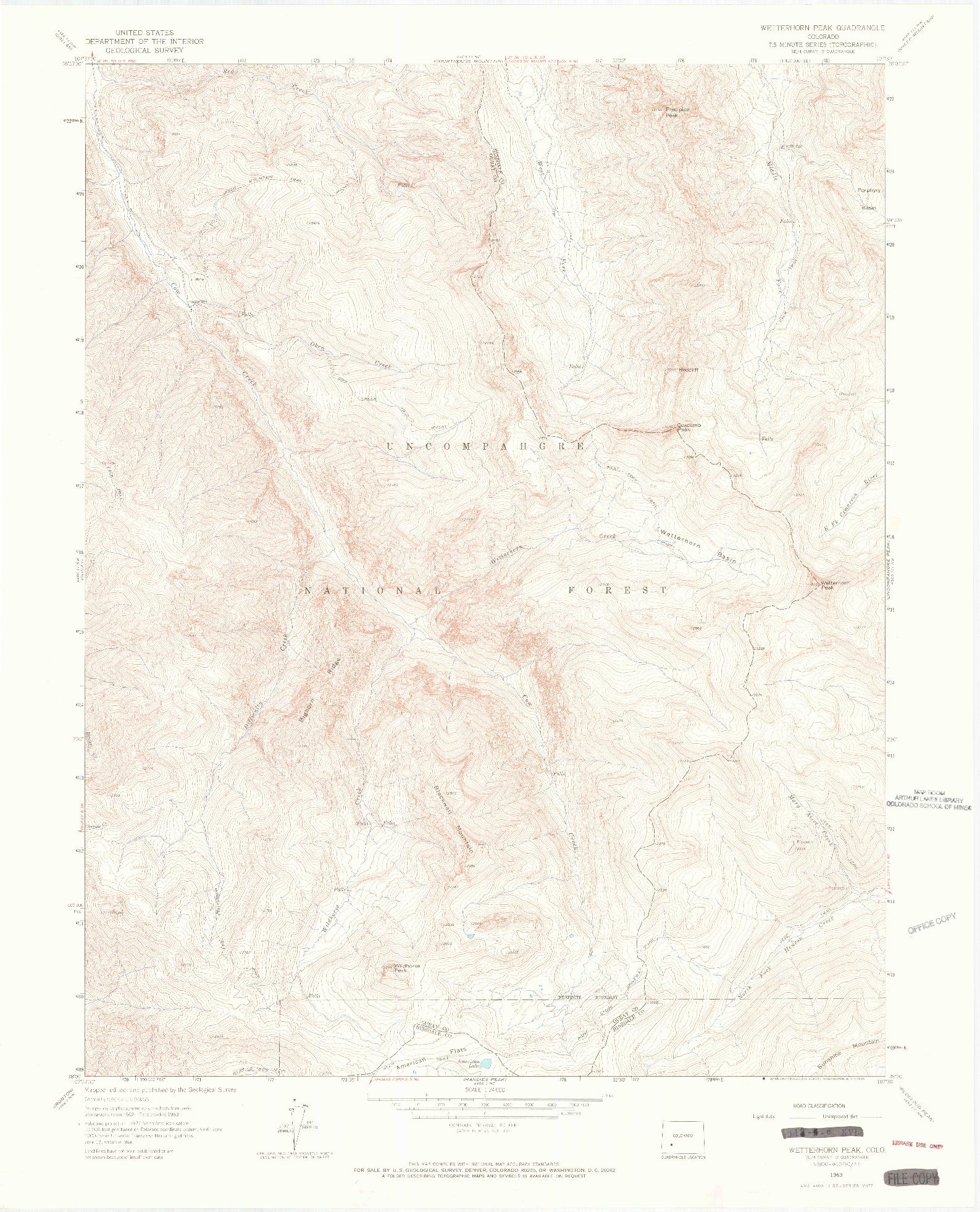 USGS 1:24000-SCALE QUADRANGLE FOR WETTERHORN PEAK, CO 1963