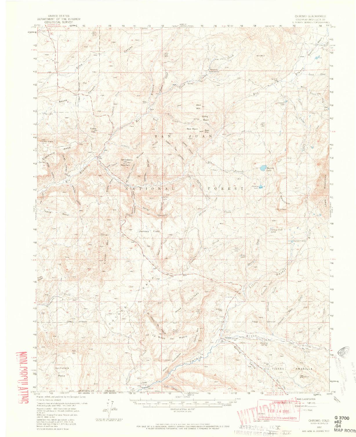 USGS 1:62500-SCALE QUADRANGLE FOR CHROMO, CO 1957