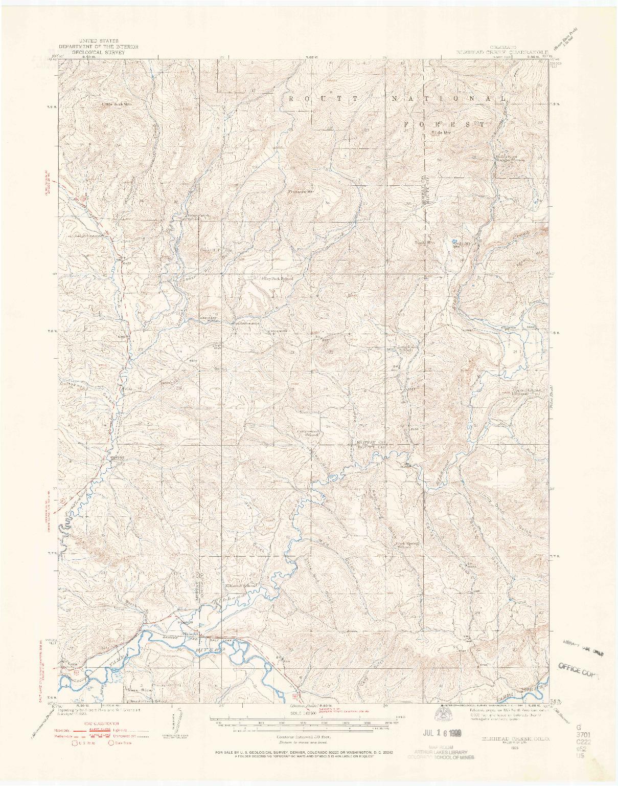 USGS 1:62500-SCALE QUADRANGLE FOR ELKHEAD CREEK, CO 1923