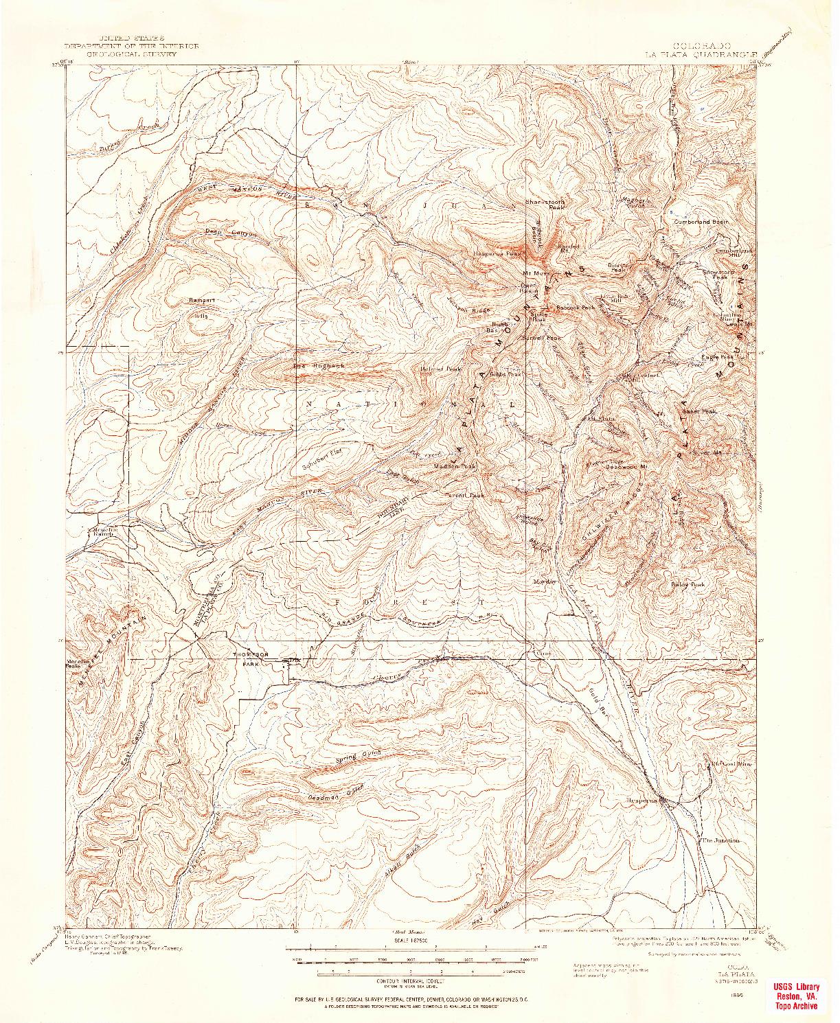 USGS 1:62500-SCALE QUADRANGLE FOR LA PLATA, CO 1895