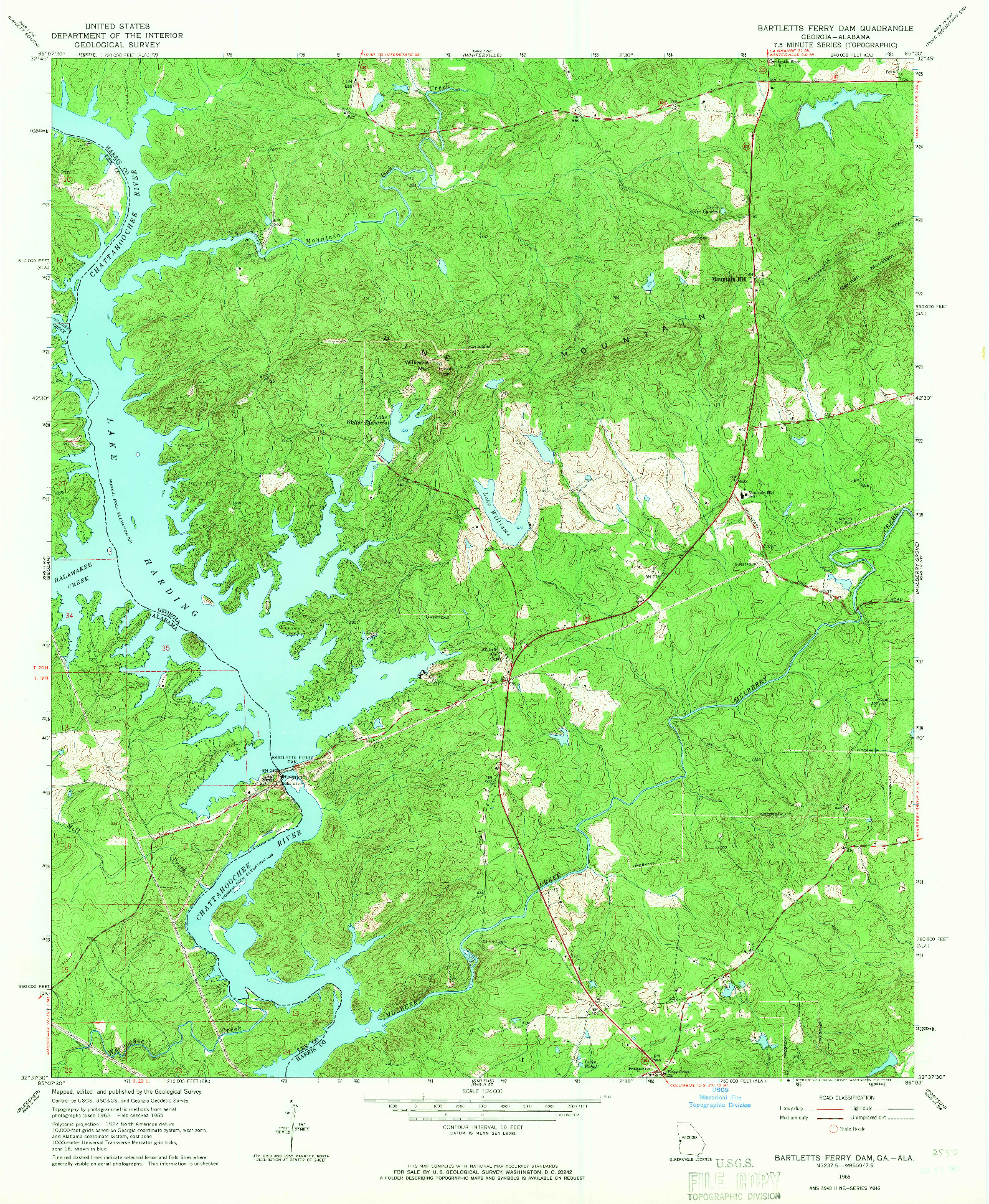 USGS 1:24000-SCALE QUADRANGLE FOR BARTLETTS FERRY DAM, GA 1965
