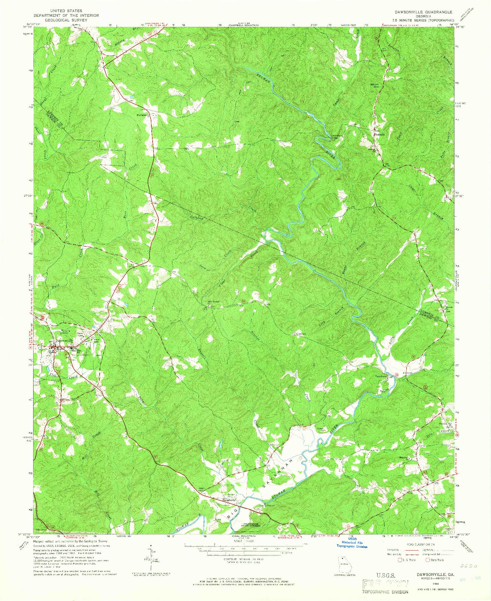 USGS 1:24000-SCALE QUADRANGLE FOR DAWSONVILLE, GA 1964