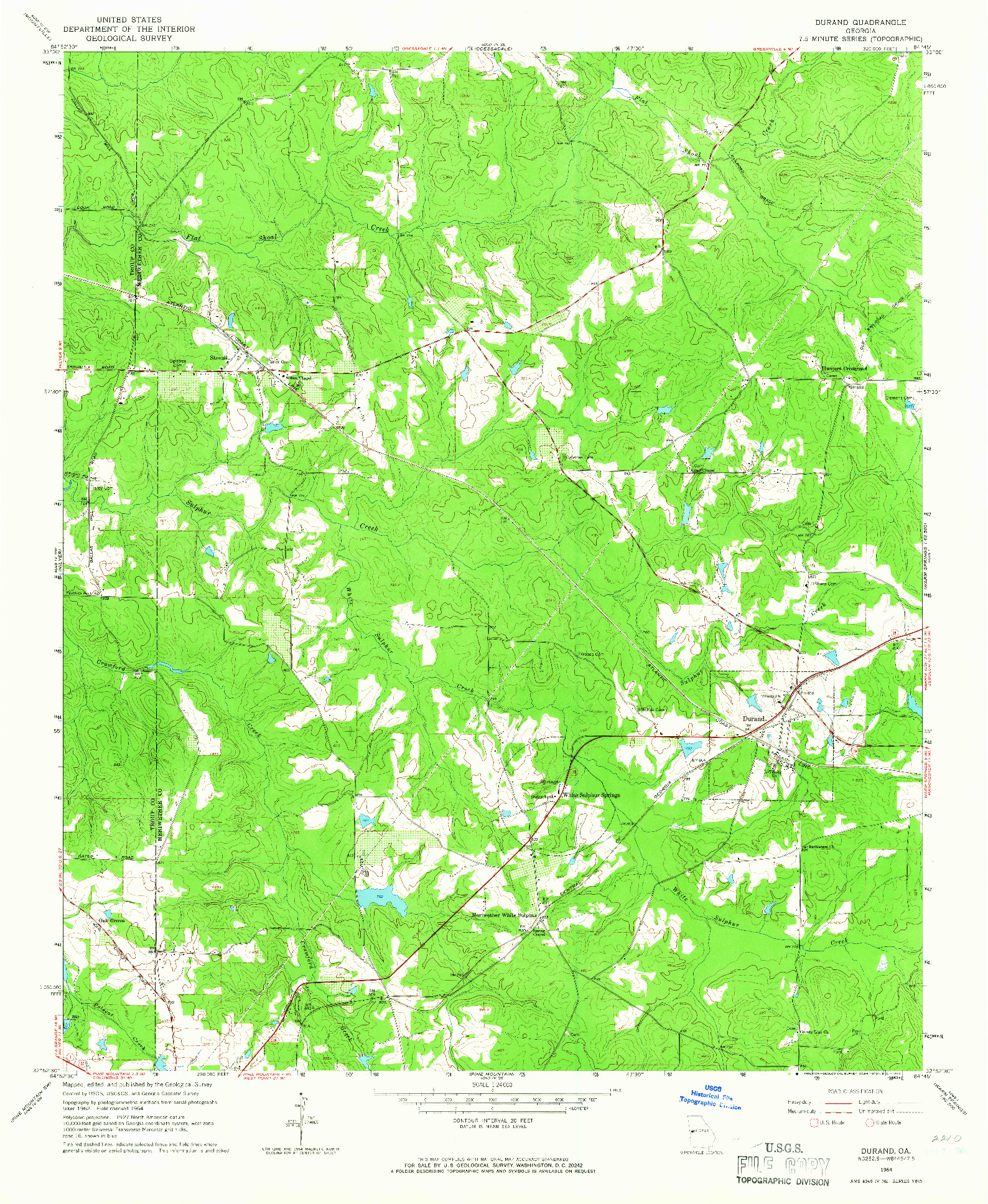 USGS 1:24000-SCALE QUADRANGLE FOR DURAND, GA 1964
