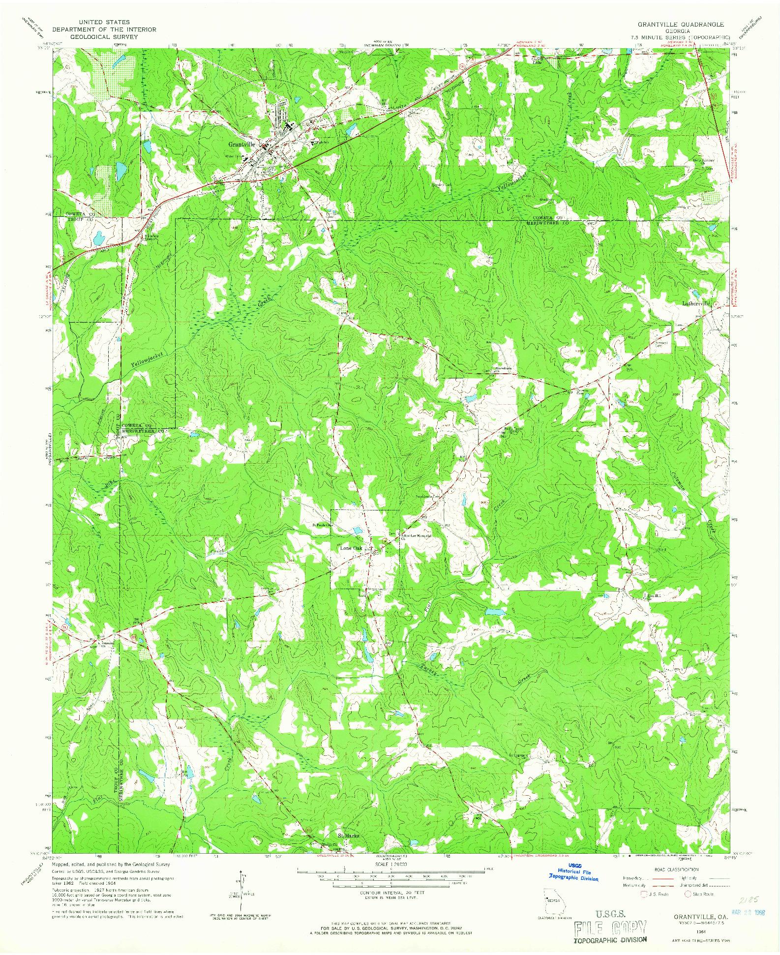 USGS 1:24000-SCALE QUADRANGLE FOR GRANTVILLE, GA 1964
