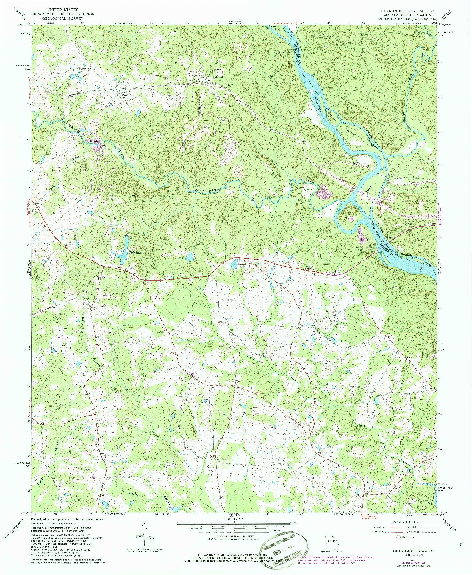 USGS 1:24000-SCALE QUADRANGLE FOR HEARDMONT, GA 1964