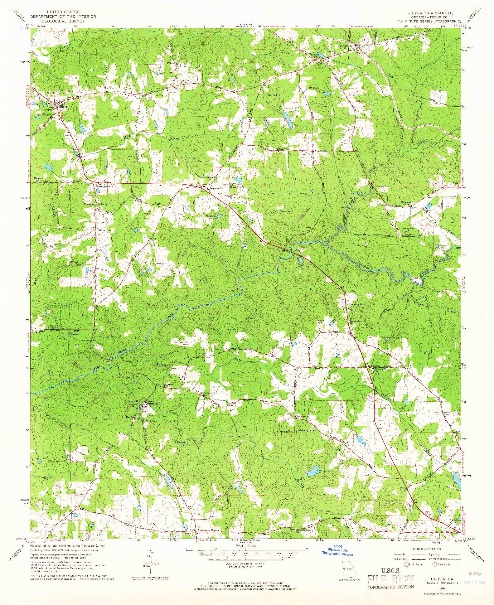 USGS 1:24000-SCALE QUADRANGLE FOR HILYER, GA 1964