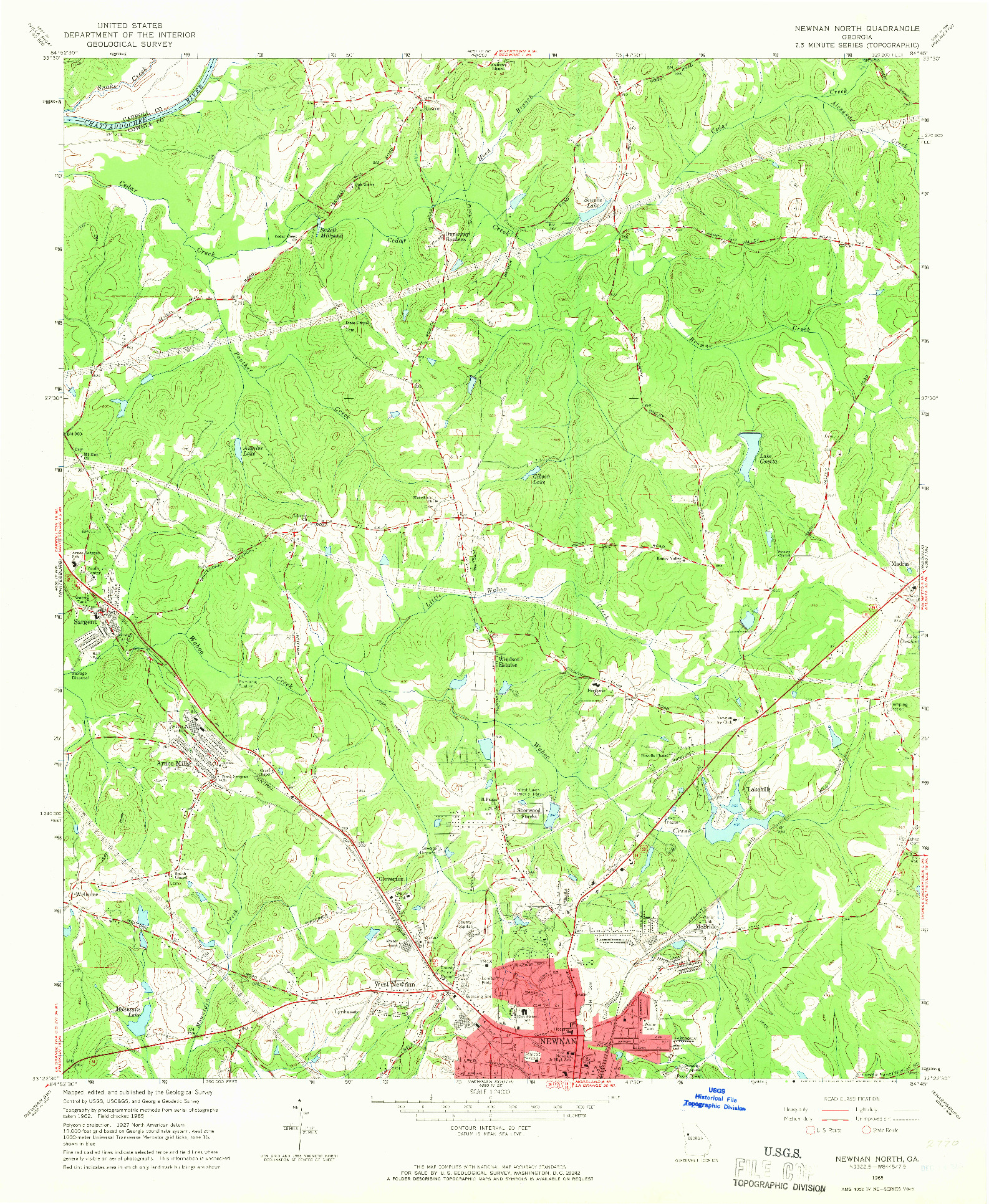 USGS 1:24000-SCALE QUADRANGLE FOR NEWNAN NORTH, GA 1965