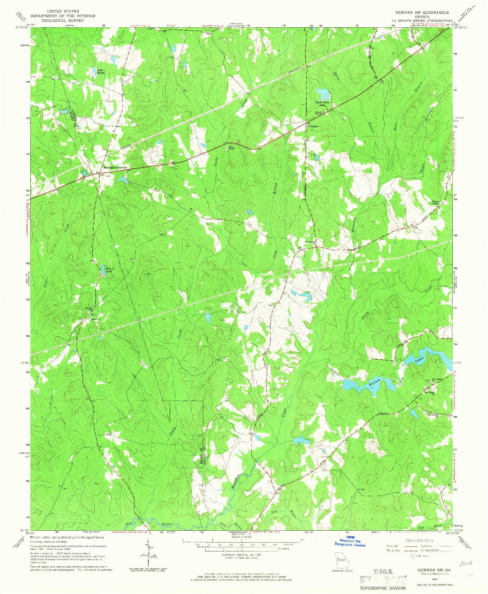 USGS 1:24000-SCALE QUADRANGLE FOR NEWNAN SW, GA 1965