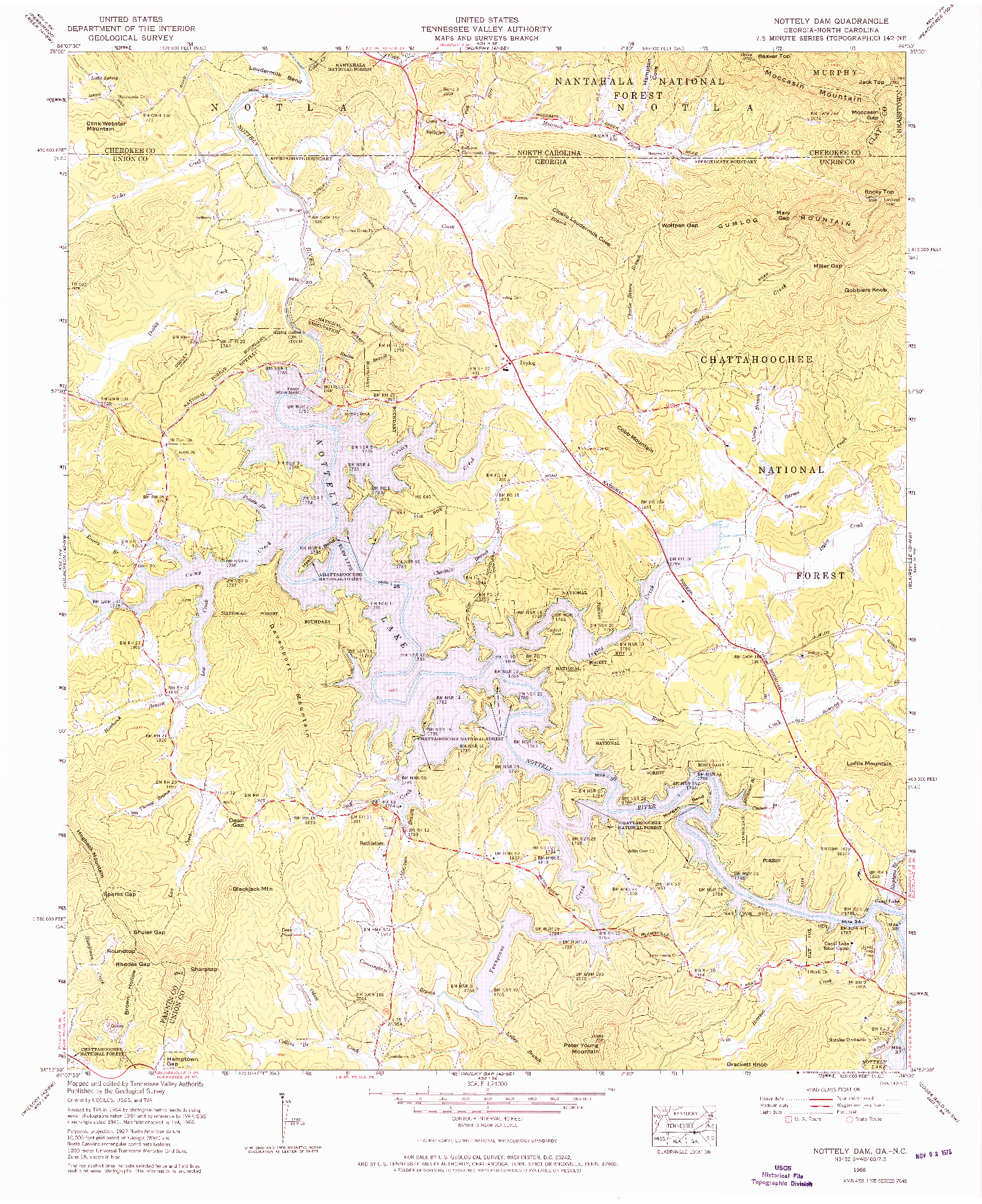 USGS 1:24000-SCALE QUADRANGLE FOR NOTTELY DAM, GA 1966