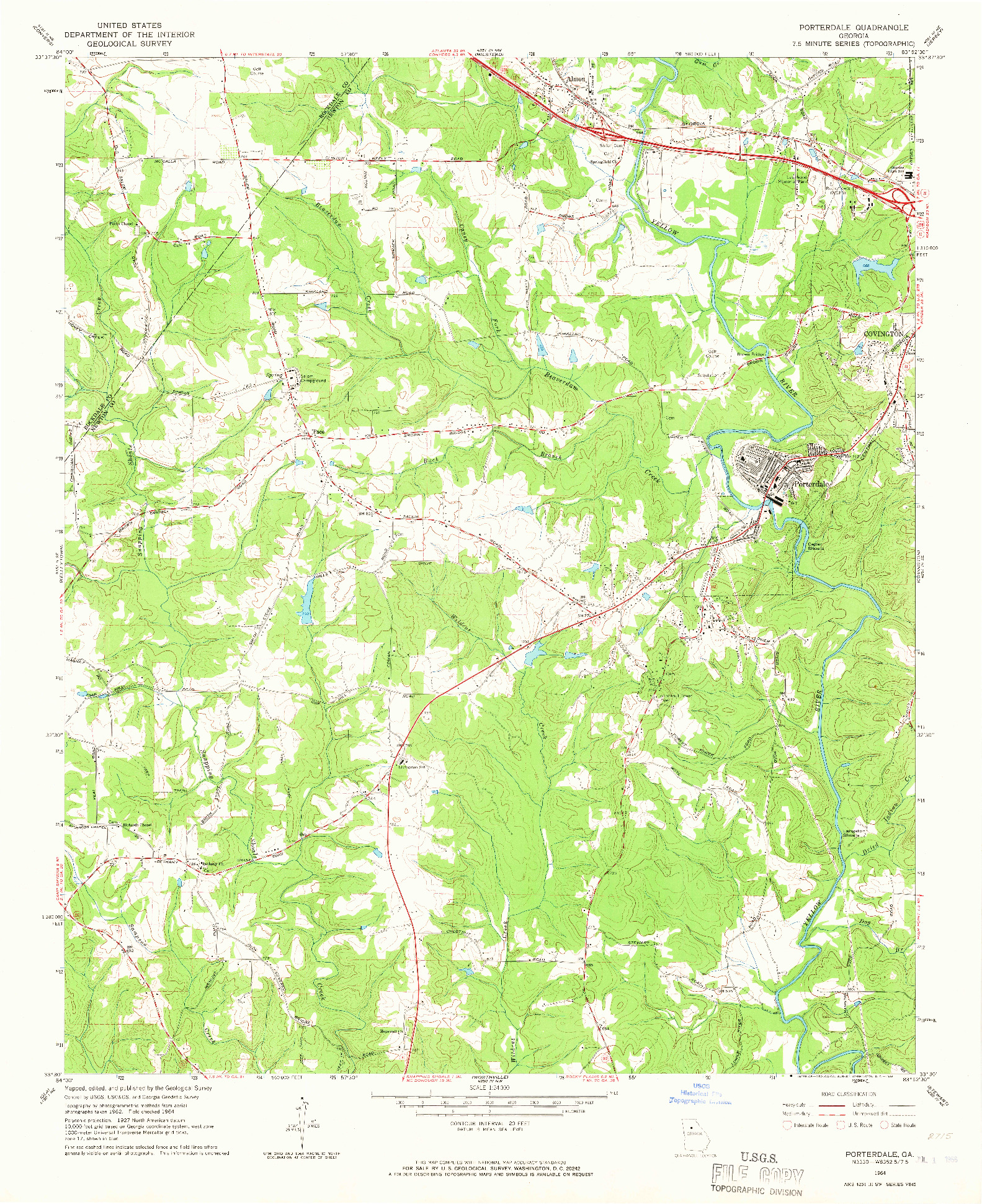 USGS 1:24000-SCALE QUADRANGLE FOR PORTERDALE, GA 1964
