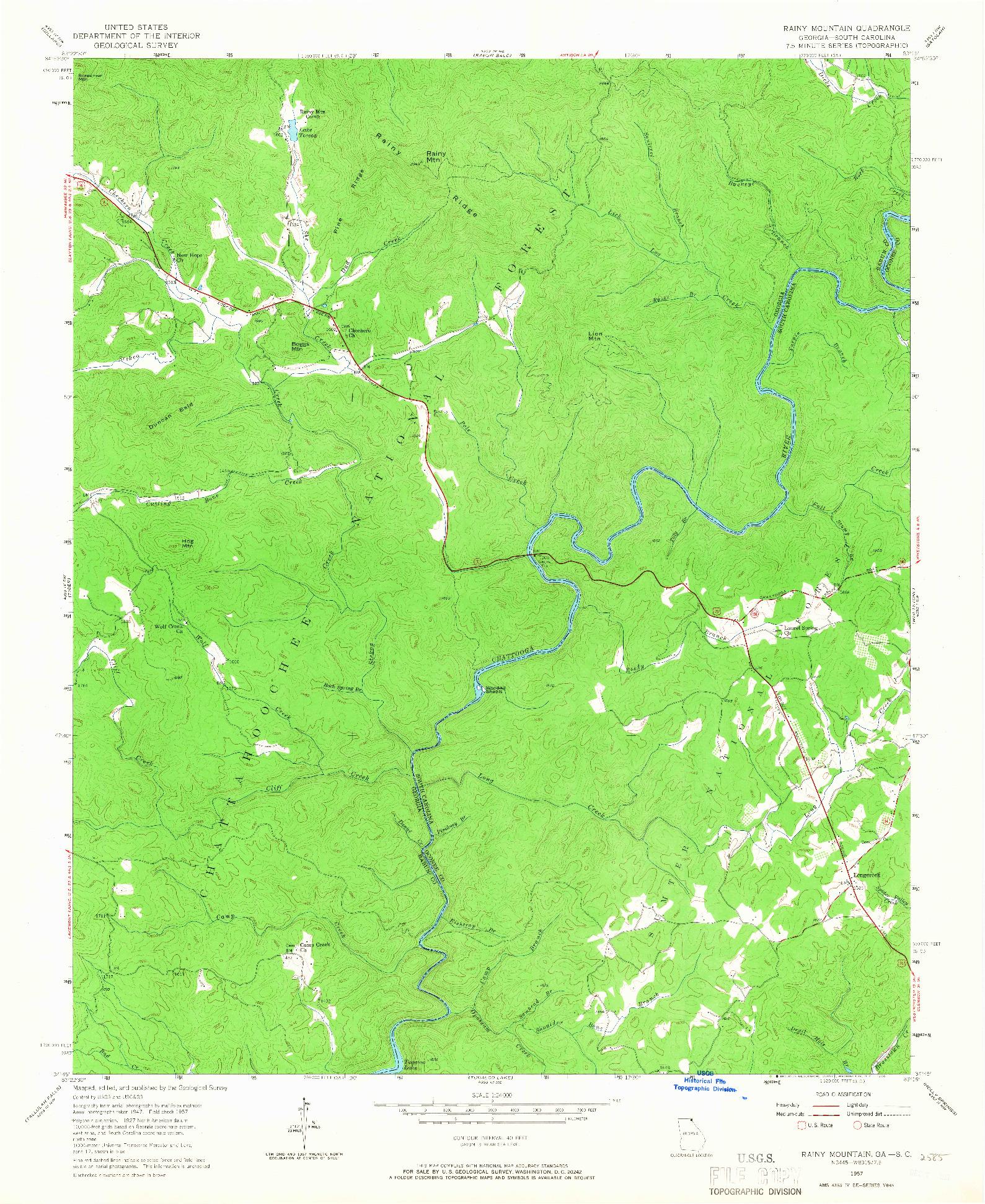 USGS 1:24000-SCALE QUADRANGLE FOR RAINY MOUNTAIN, GA 1957