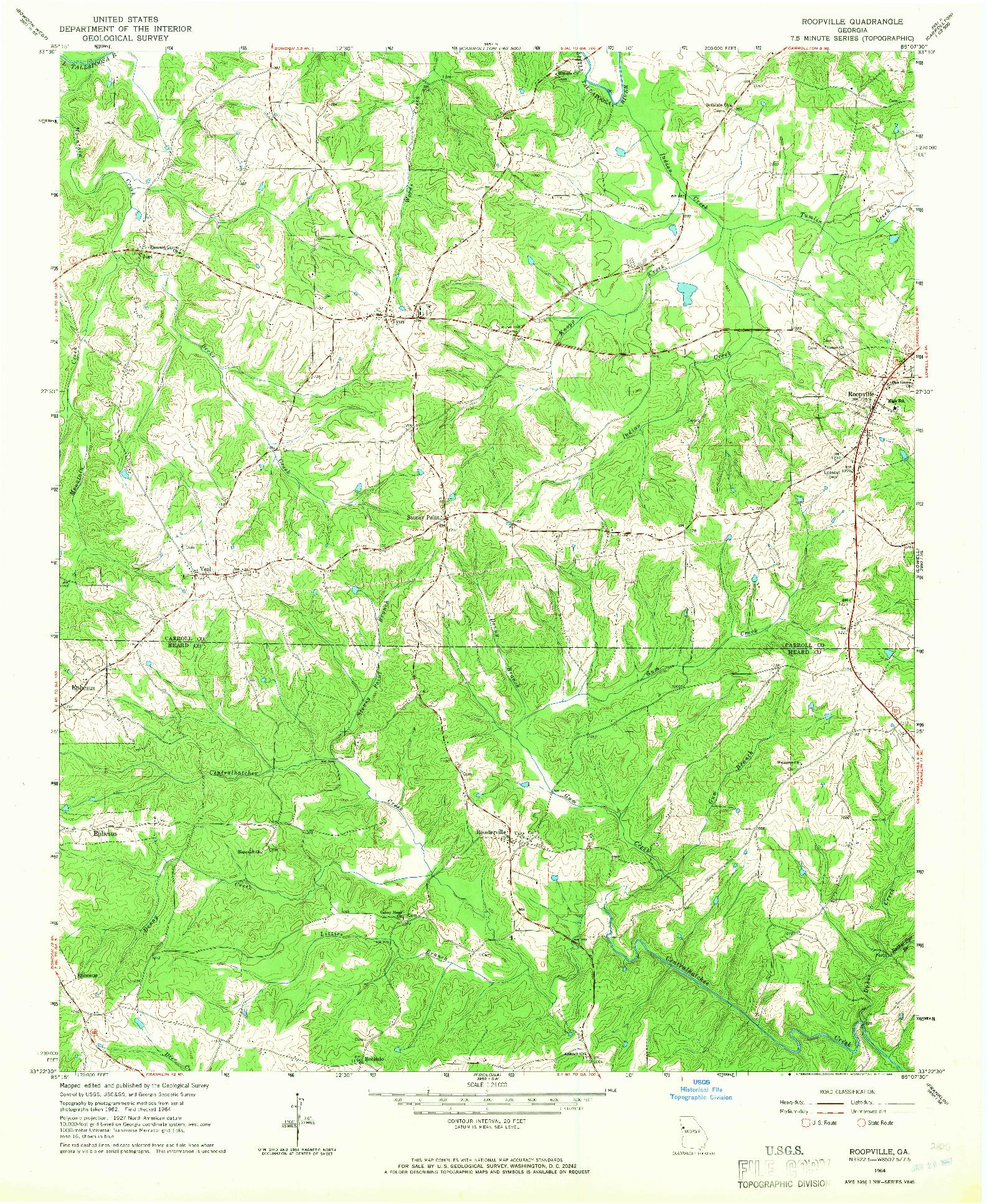 USGS 1:24000-SCALE QUADRANGLE FOR ROOPVILLE, GA 1964