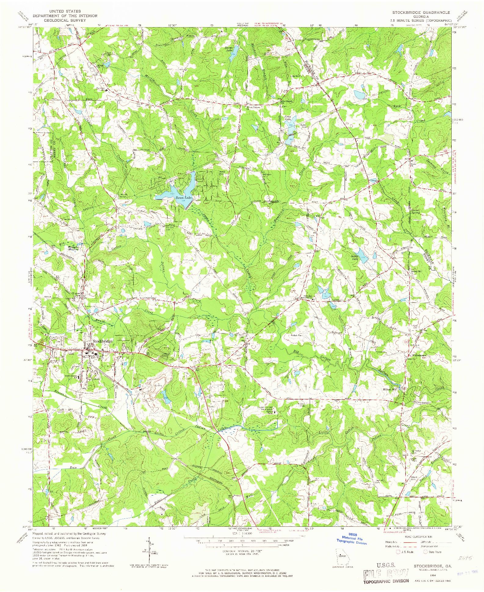 USGS 1:24000-SCALE QUADRANGLE FOR STOCKBRIDGE, GA 1964