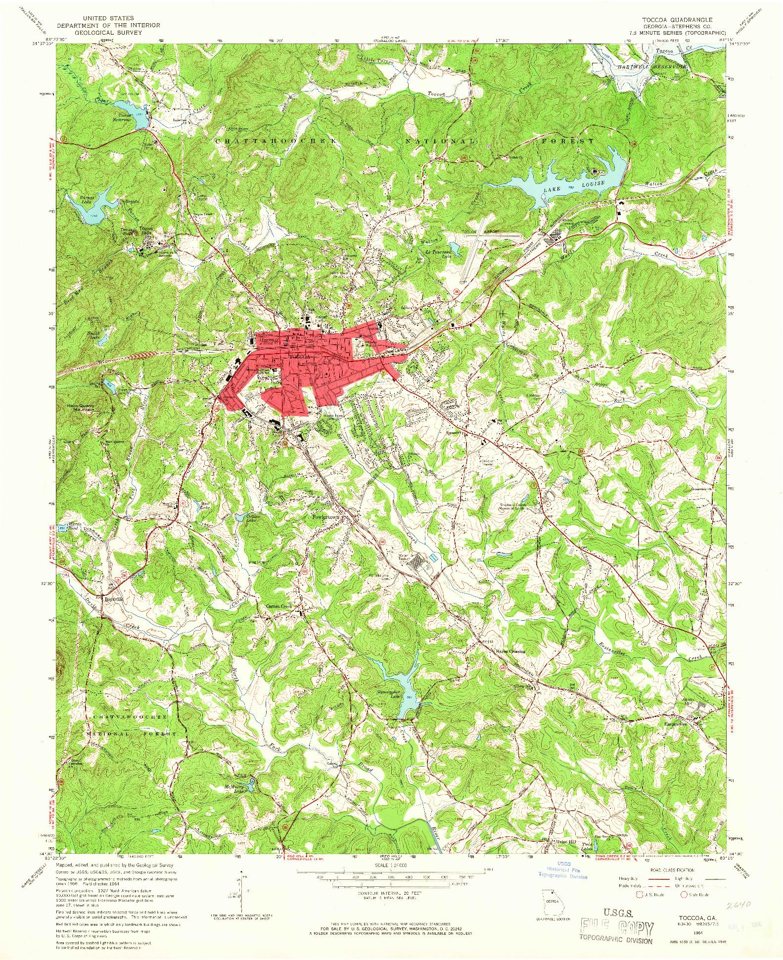 USGS 1:24000-SCALE QUADRANGLE FOR TOCCOA, GA 1964