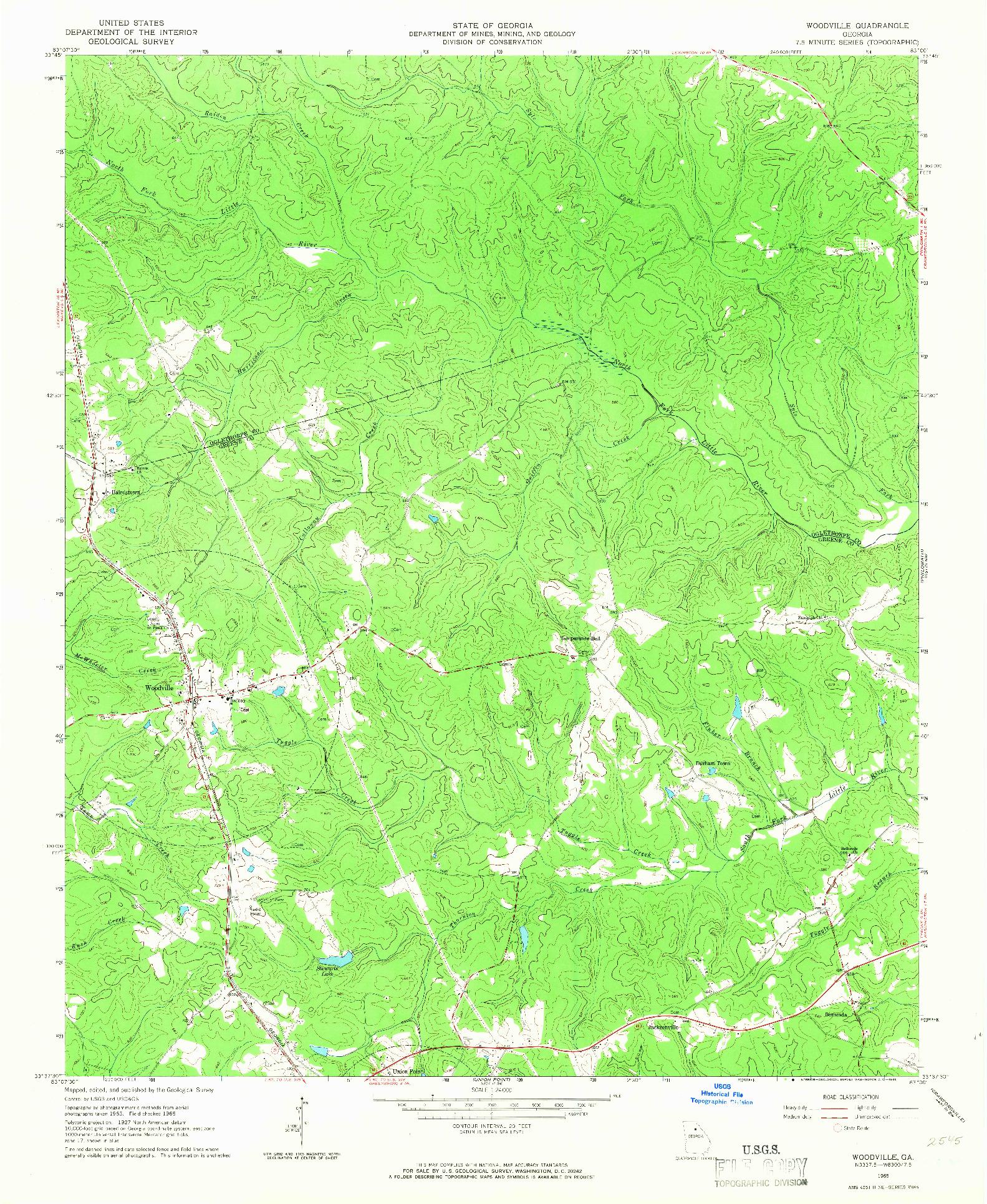 USGS 1:24000-SCALE QUADRANGLE FOR WOODVILLE, GA 1965