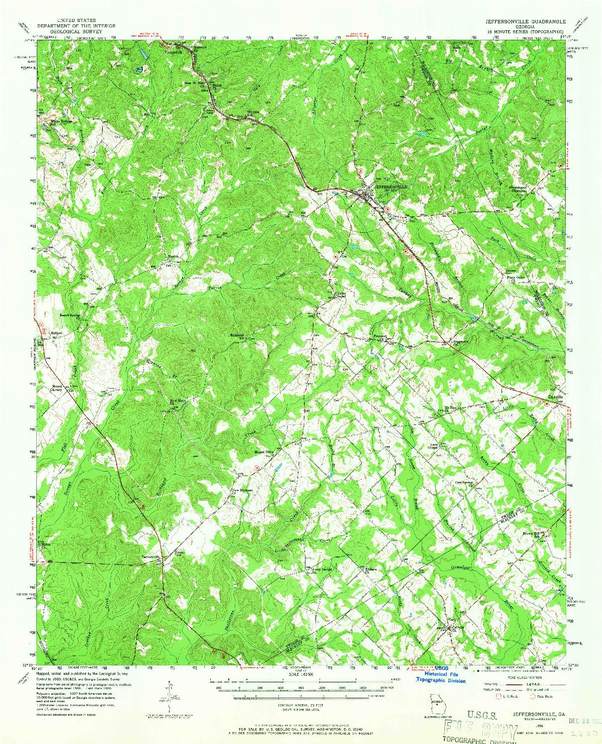 USGS 1:62500-SCALE QUADRANGLE FOR JEFFERSONVILLE, GA 1956
