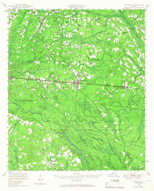 USGS 1:62500-SCALE QUADRANGLE FOR PEMBROKE, GA 1948