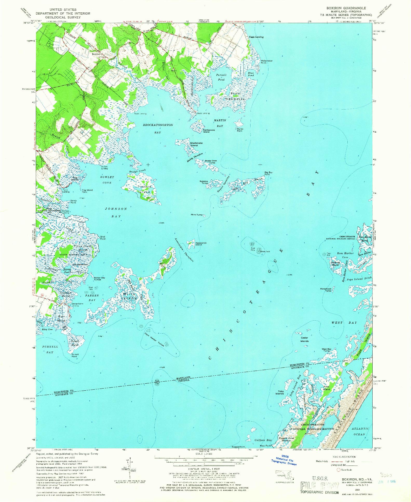USGS 1:24000-SCALE QUADRANGLE FOR BOXIRON, MD 1964