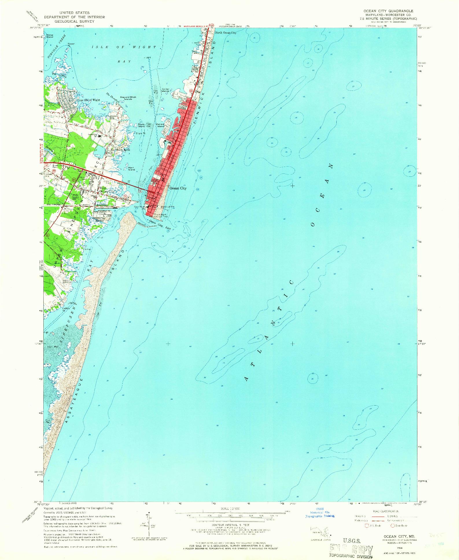 USGS 1:24000-SCALE QUADRANGLE FOR OCEAN CITY, MD 1964