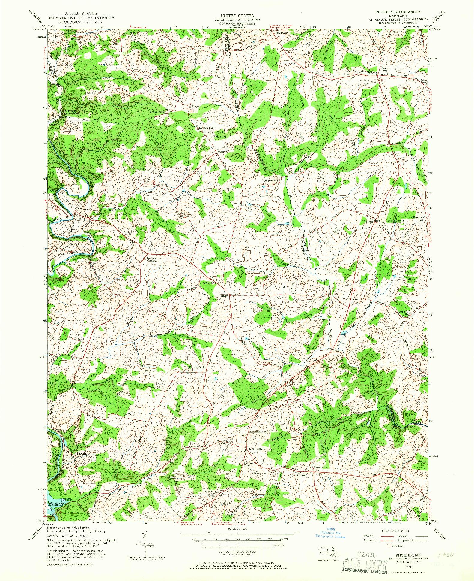 USGS 1:24000-SCALE QUADRANGLE FOR PHOENIX, MD 1957