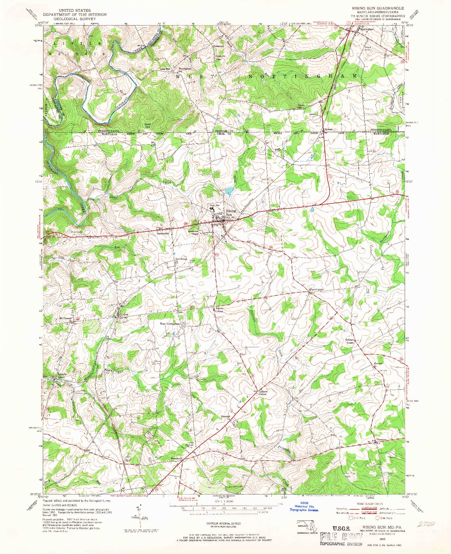 USGS 1:24000-SCALE QUADRANGLE FOR RISING SUN, MD 1953