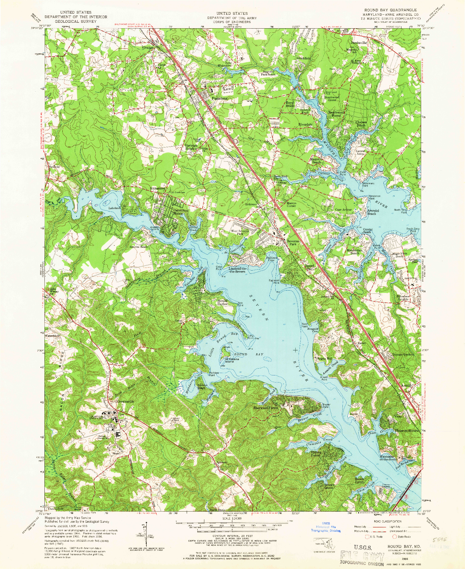 USGS 1:24000-SCALE QUADRANGLE FOR ROUND BAY, MD 1956