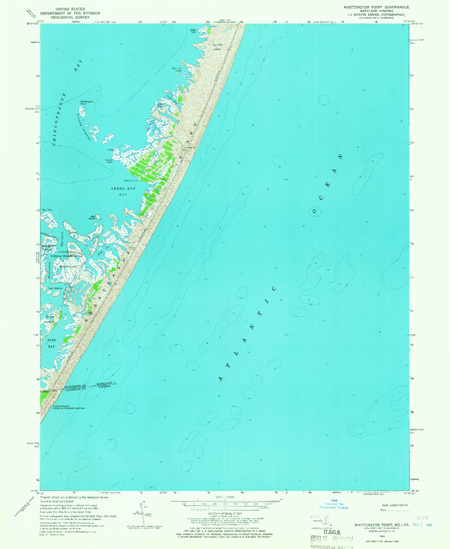 USGS 1:24000-SCALE QUADRANGLE FOR WHITTINGTON POINT, MD 1964