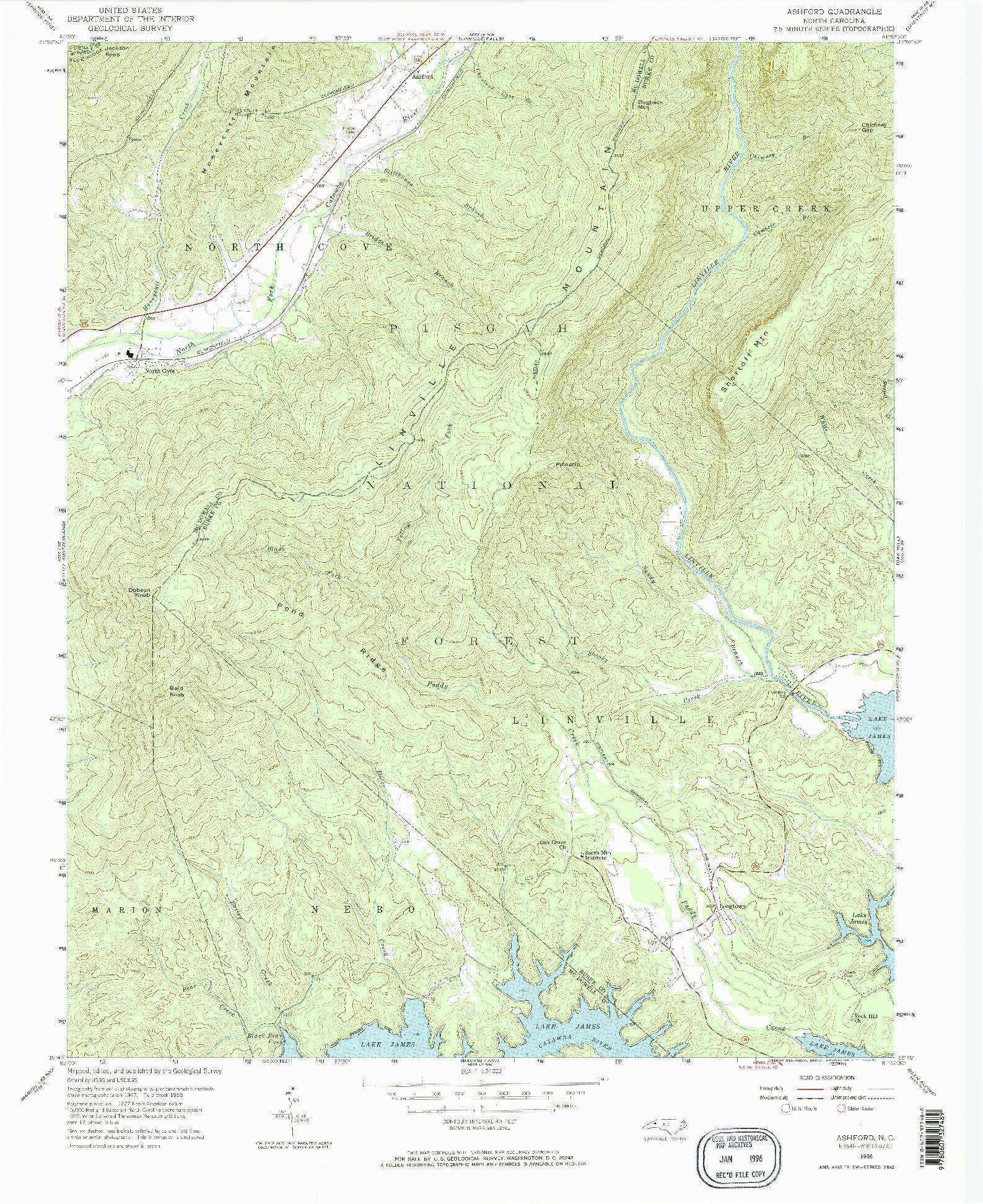 USGS 1:24000-SCALE QUADRANGLE FOR ASHFORD, NC 1956
