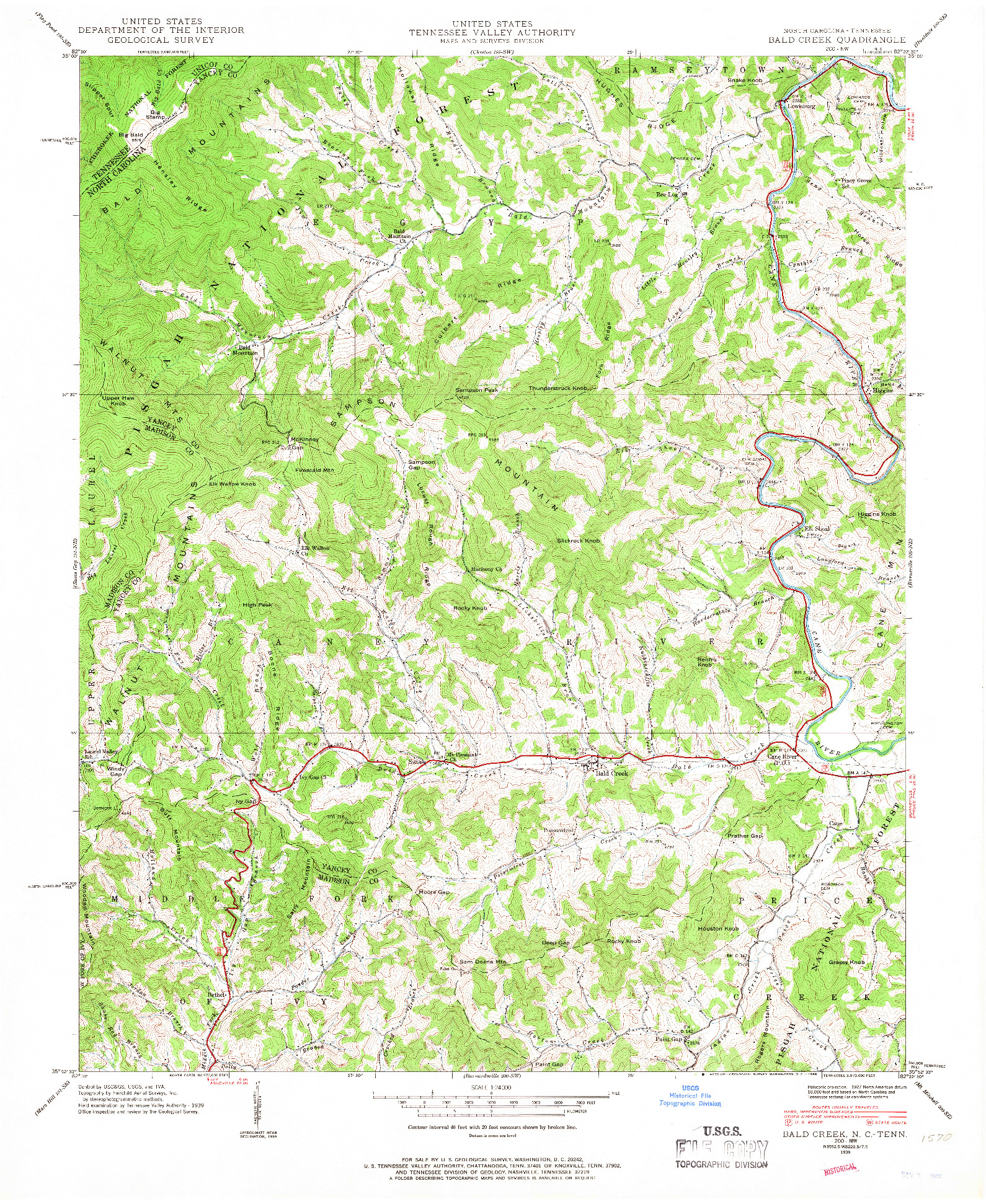 USGS 1:24000-SCALE QUADRANGLE FOR BALD CREEK, NC 1939