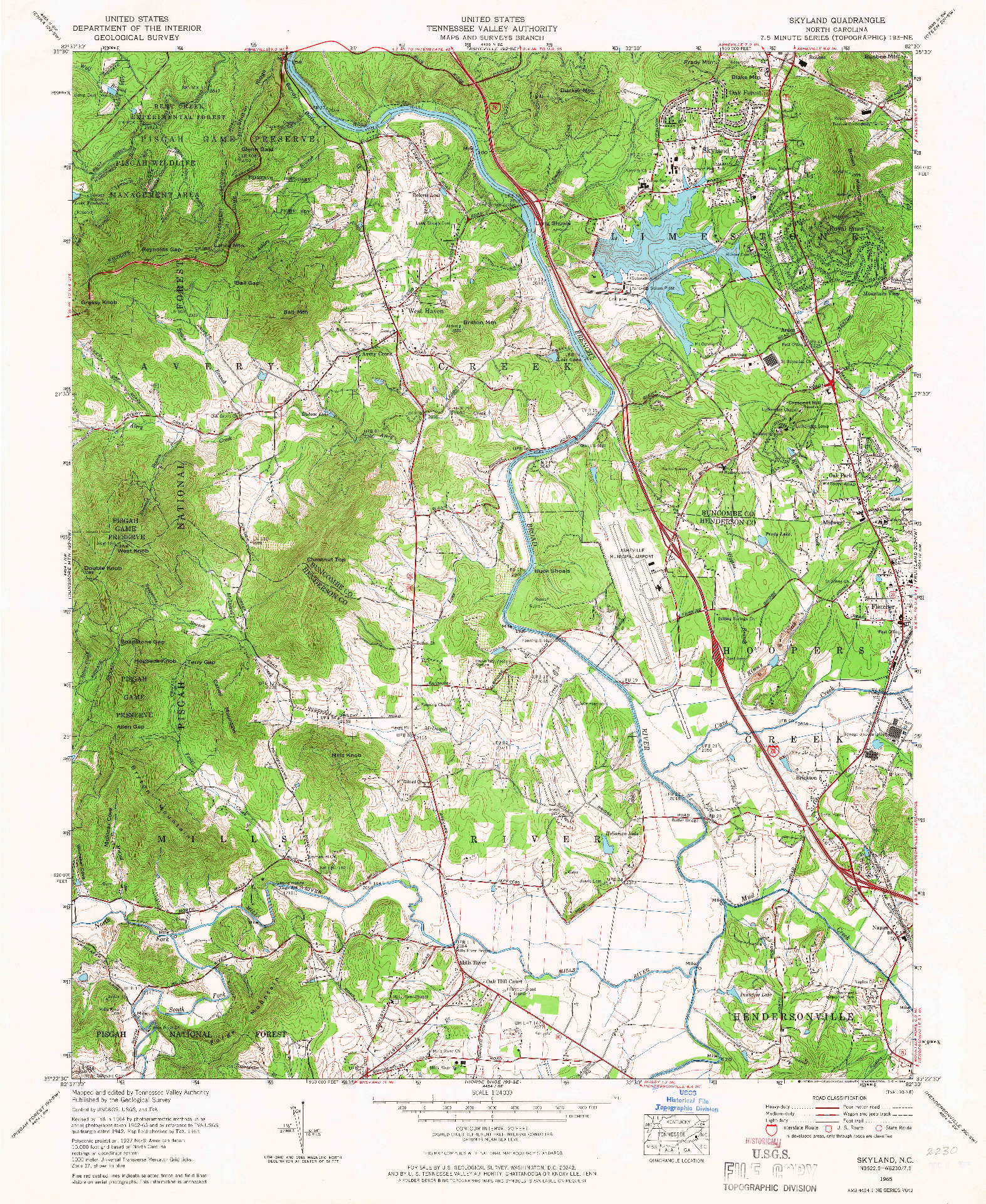 USGS 1:24000-SCALE QUADRANGLE FOR SKYLAND, NC 1965